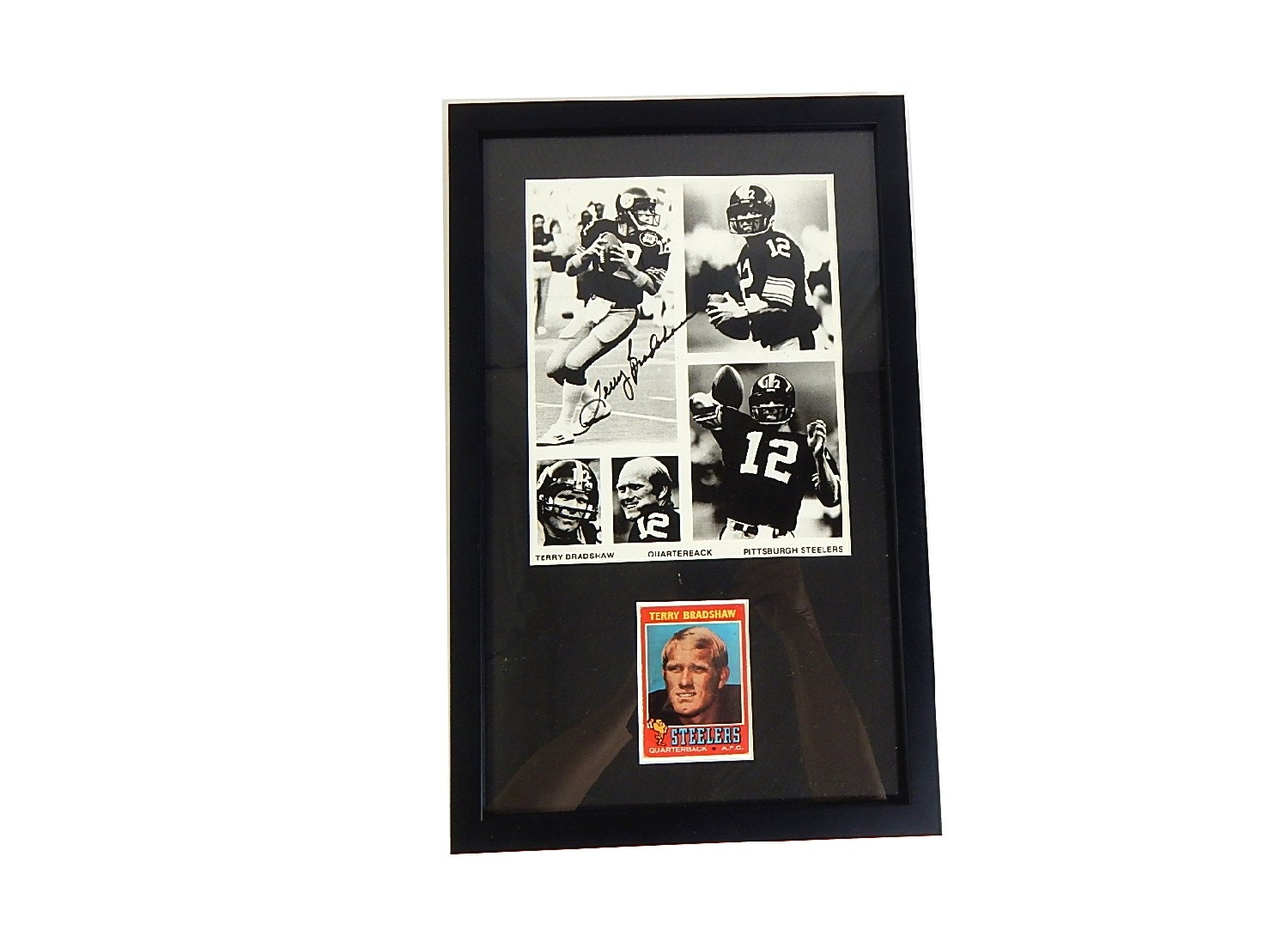 1971 Terry Bradshaw Topps Rookie Card and Signed Photograph Matted and Framed