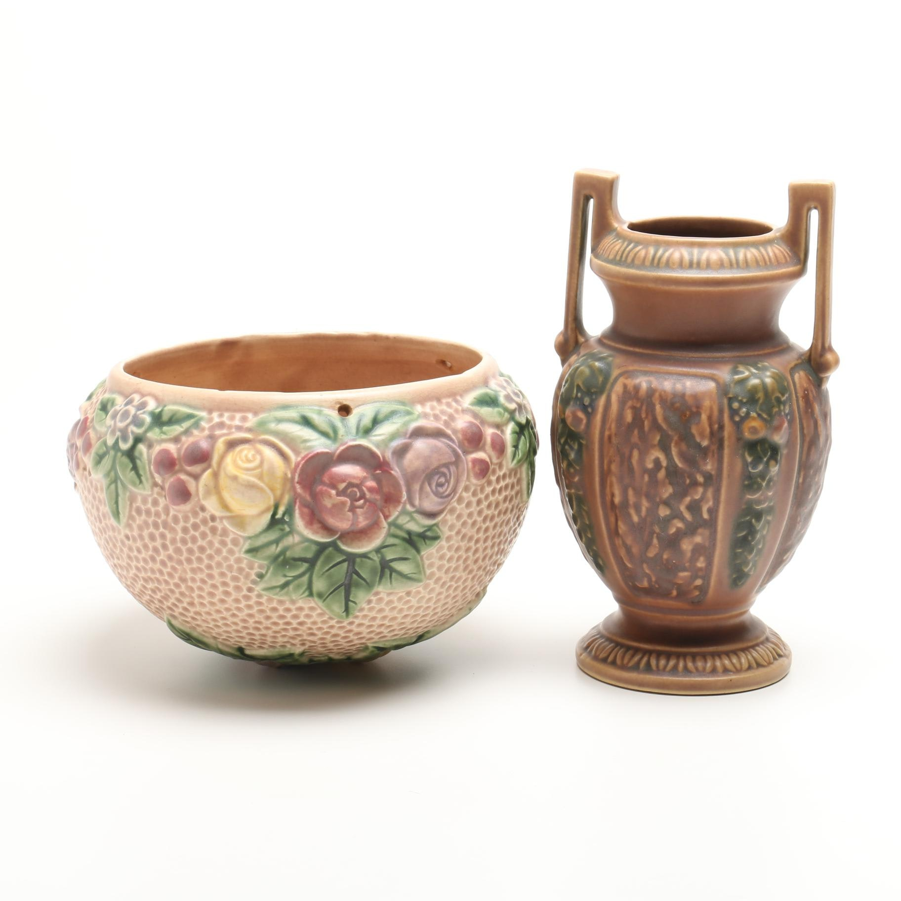 Roseville Pottery Rozane 1917 Hanging Jardiniere And Florentine