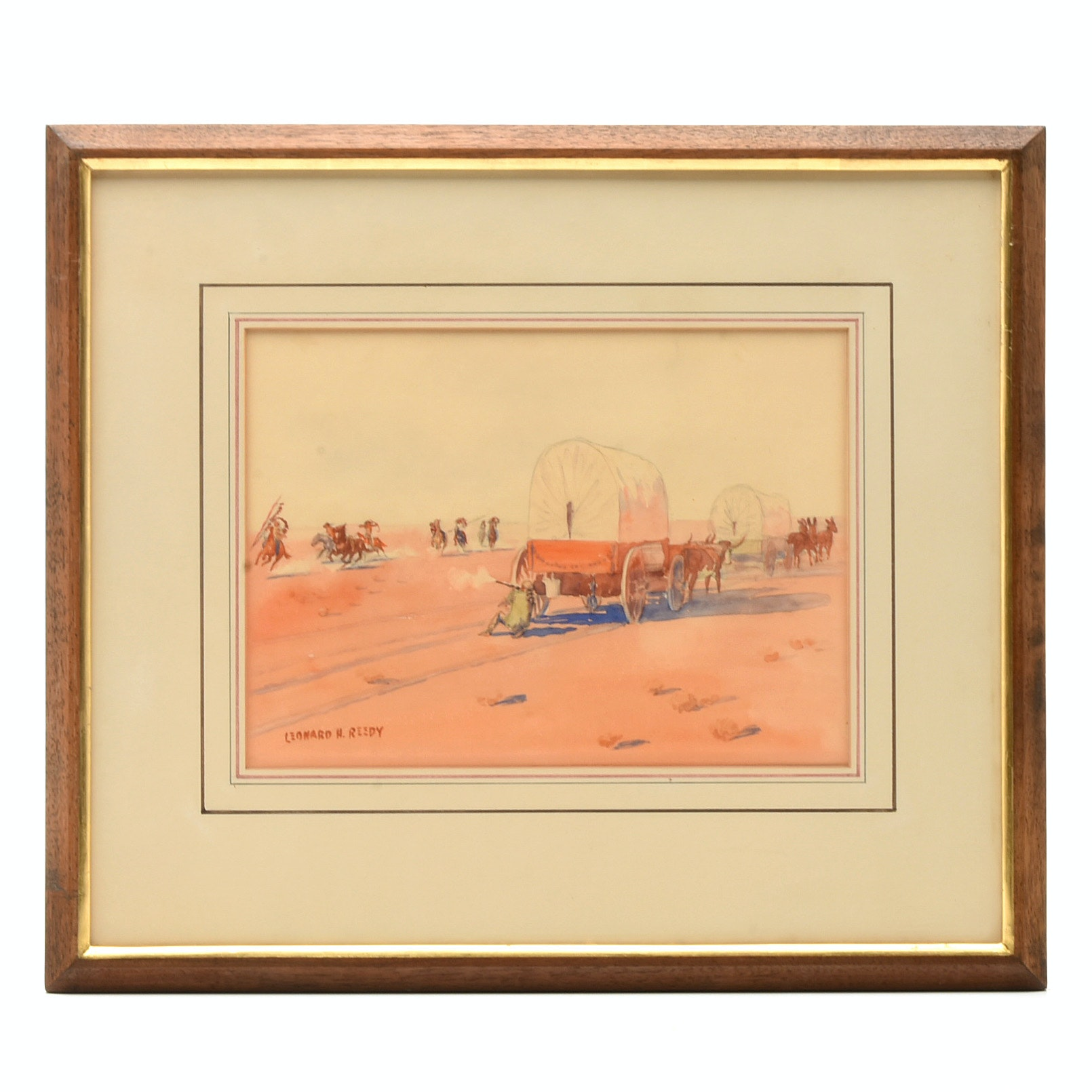 Leonard H. Reedy Watercolor on Paper of Western Attack Scene