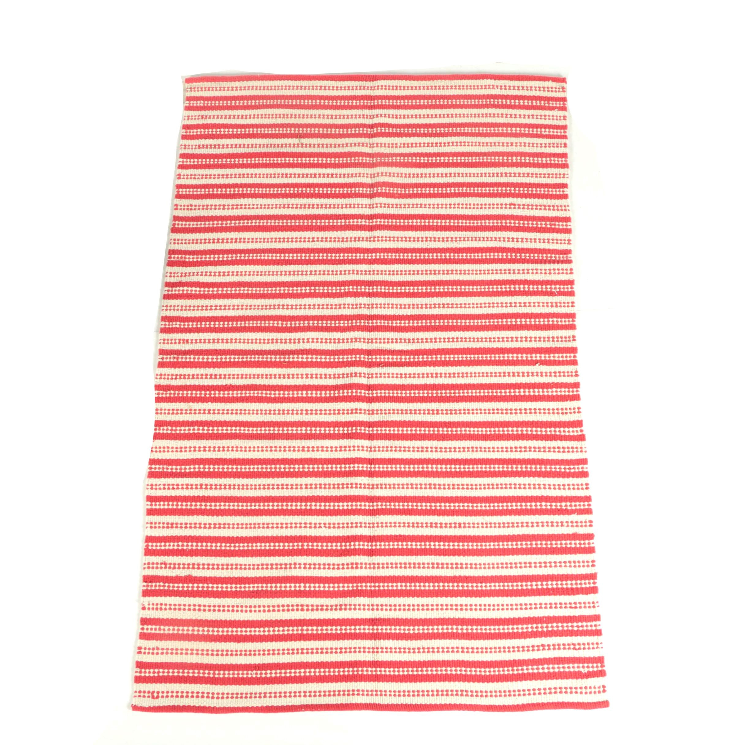 Flat Weave Red and White Striped Cotton Area Rug