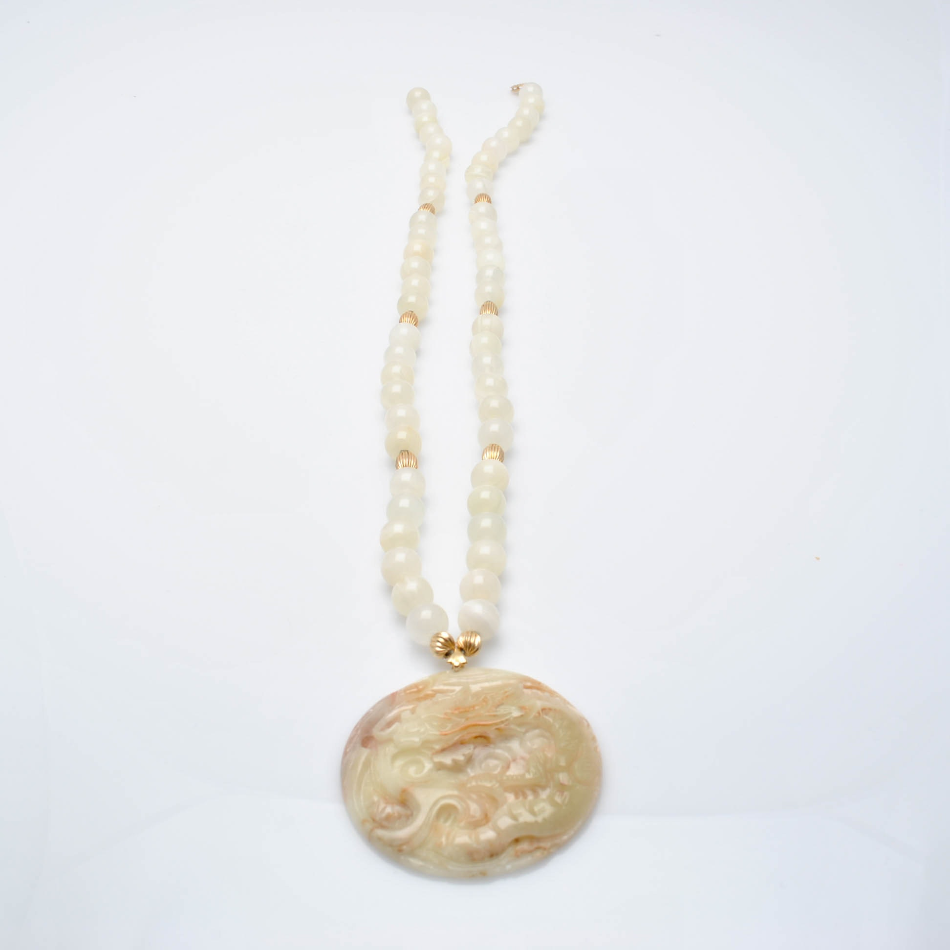 14K Yellow Gold Carved Nephrite Jade Pendant and Agate Bead Necklace
