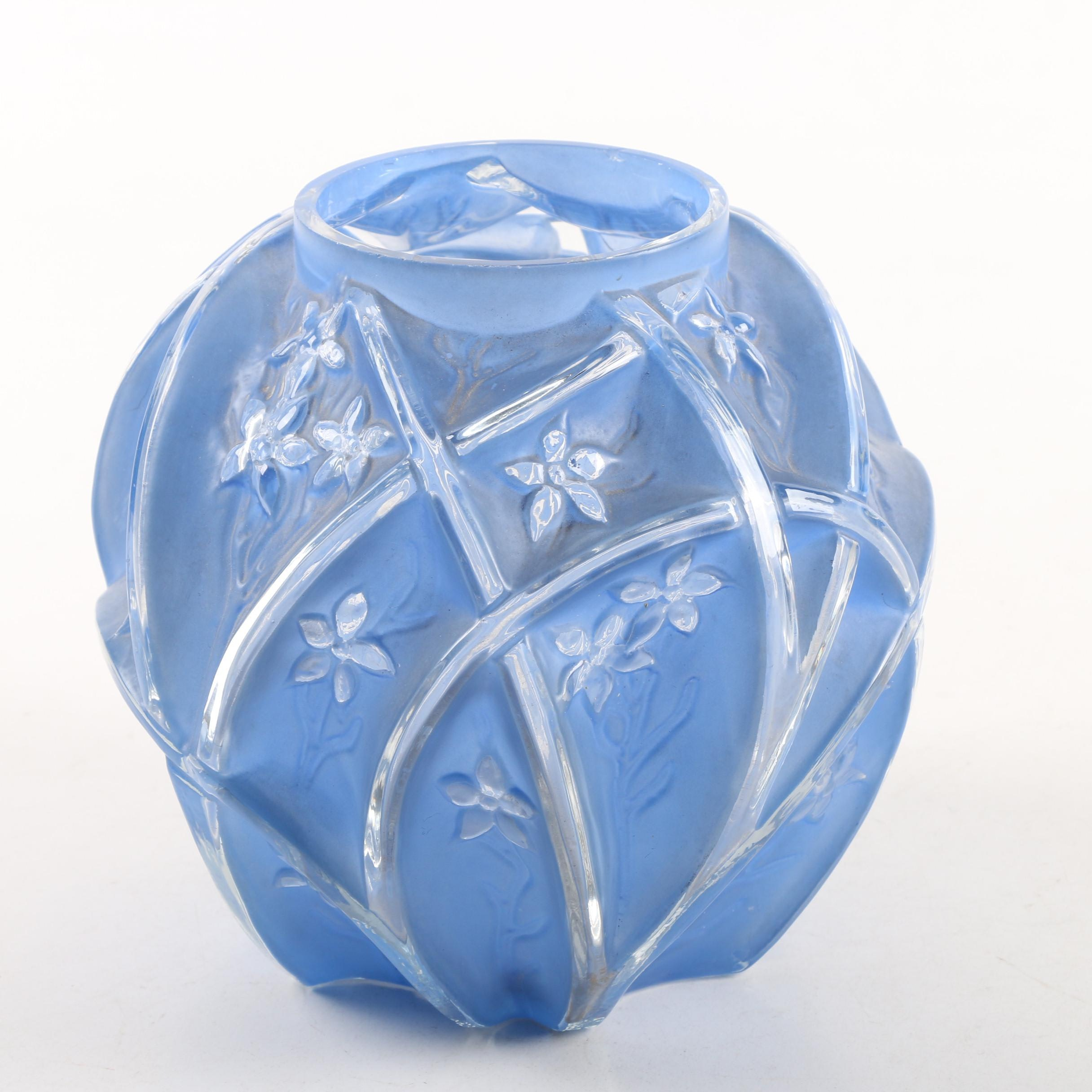 Floral Blue Frosted Glass Vase