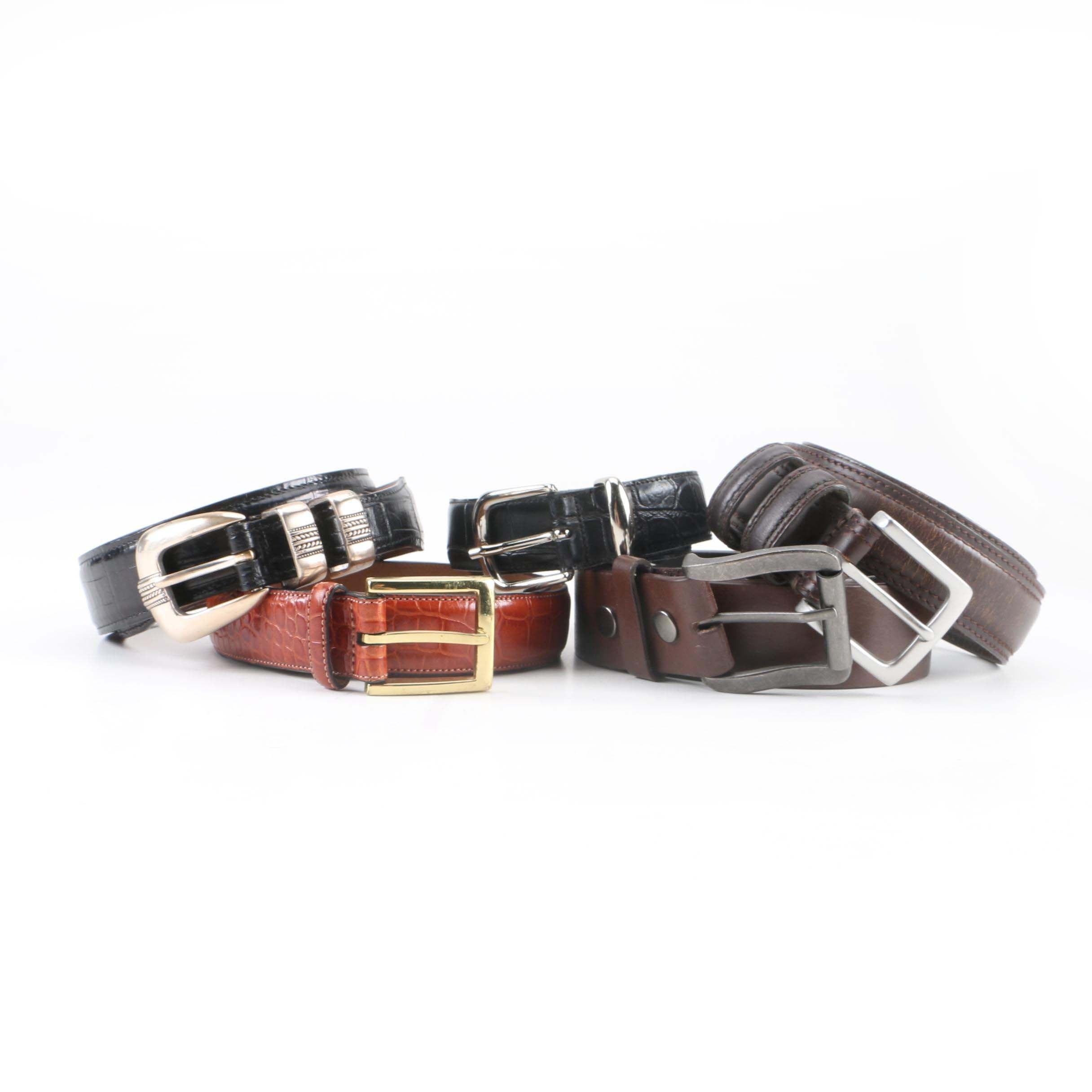 Men's Leather Belts Including Tommy Hilfiger and J. Ferrar