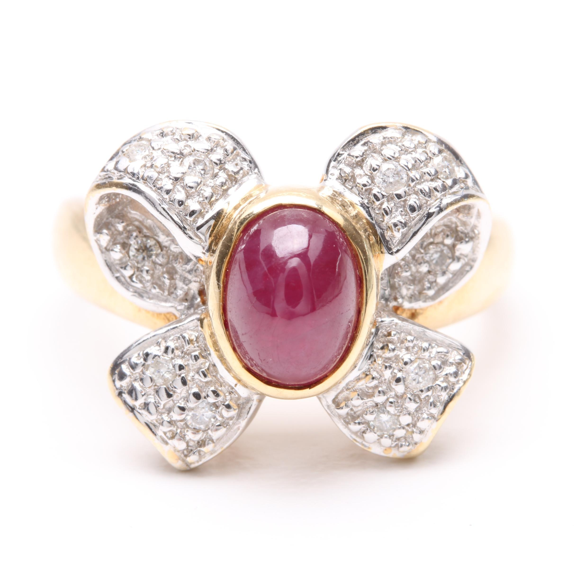 14K Yellow and White Gold Ruby and Diamond Bow Ring