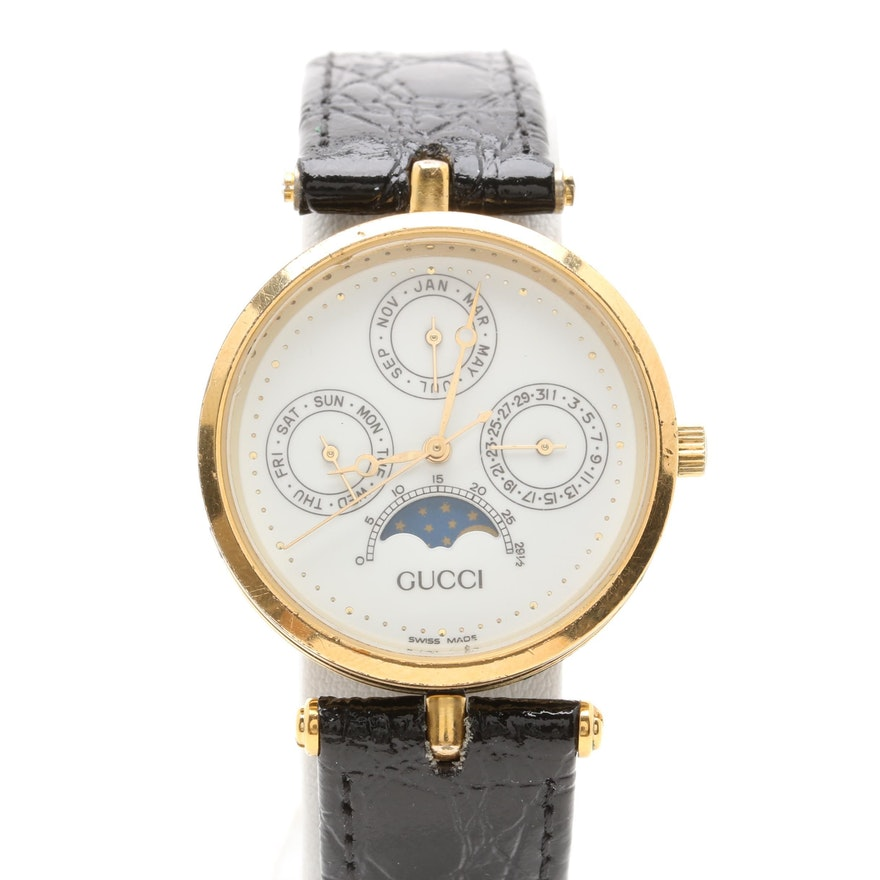 0cab353f111 Gucci Moonphase Gold Tone Triple Date Leather Wristwatch with Box   EBTH