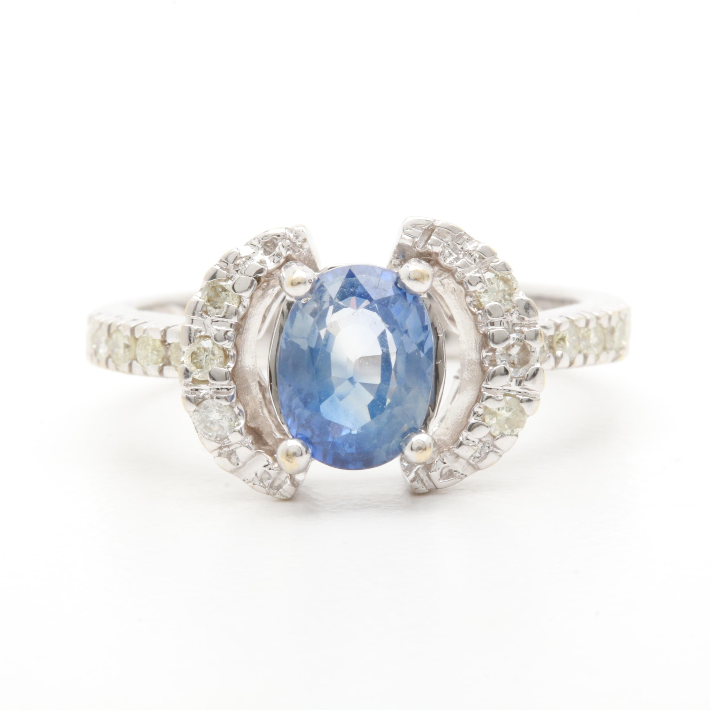 18K White Gold 1.50 CT Sapphire and Diamond Ring