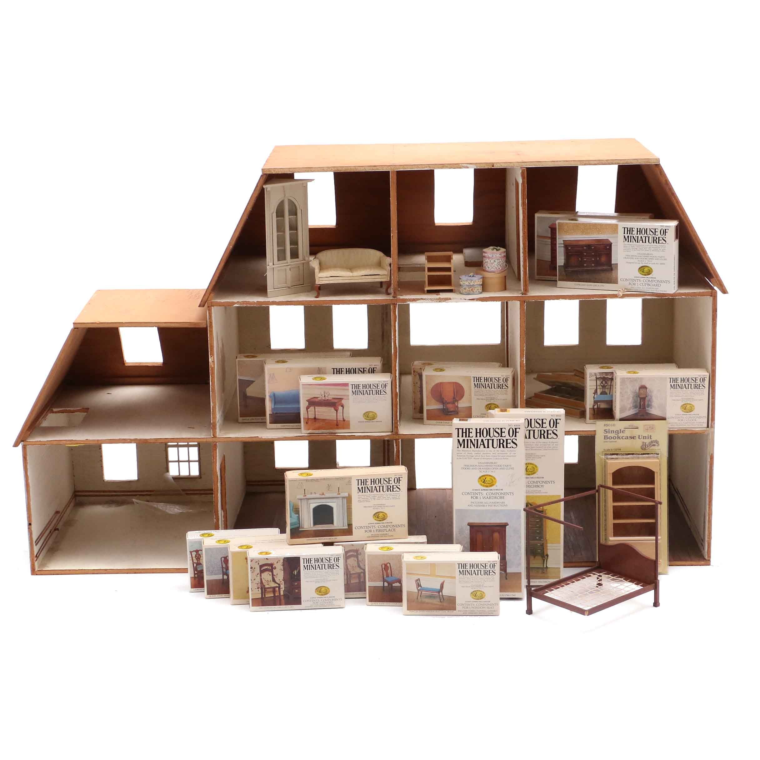 Handmade Wooden Doll House With Furniture And Accessories Ebth