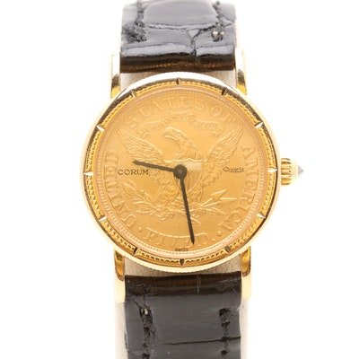 5114613ee31 Corum 18K and 22K Yellow Gold 1887 Liberty Head Coin Leather Wristwatch