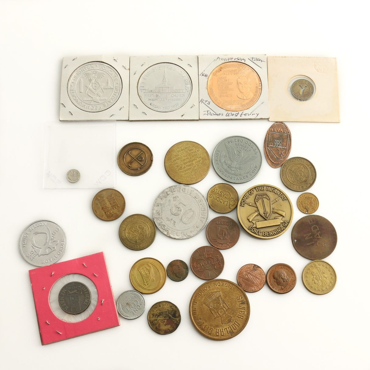 Group of Twenty-Nine Various Medals, Tokens, and Coins