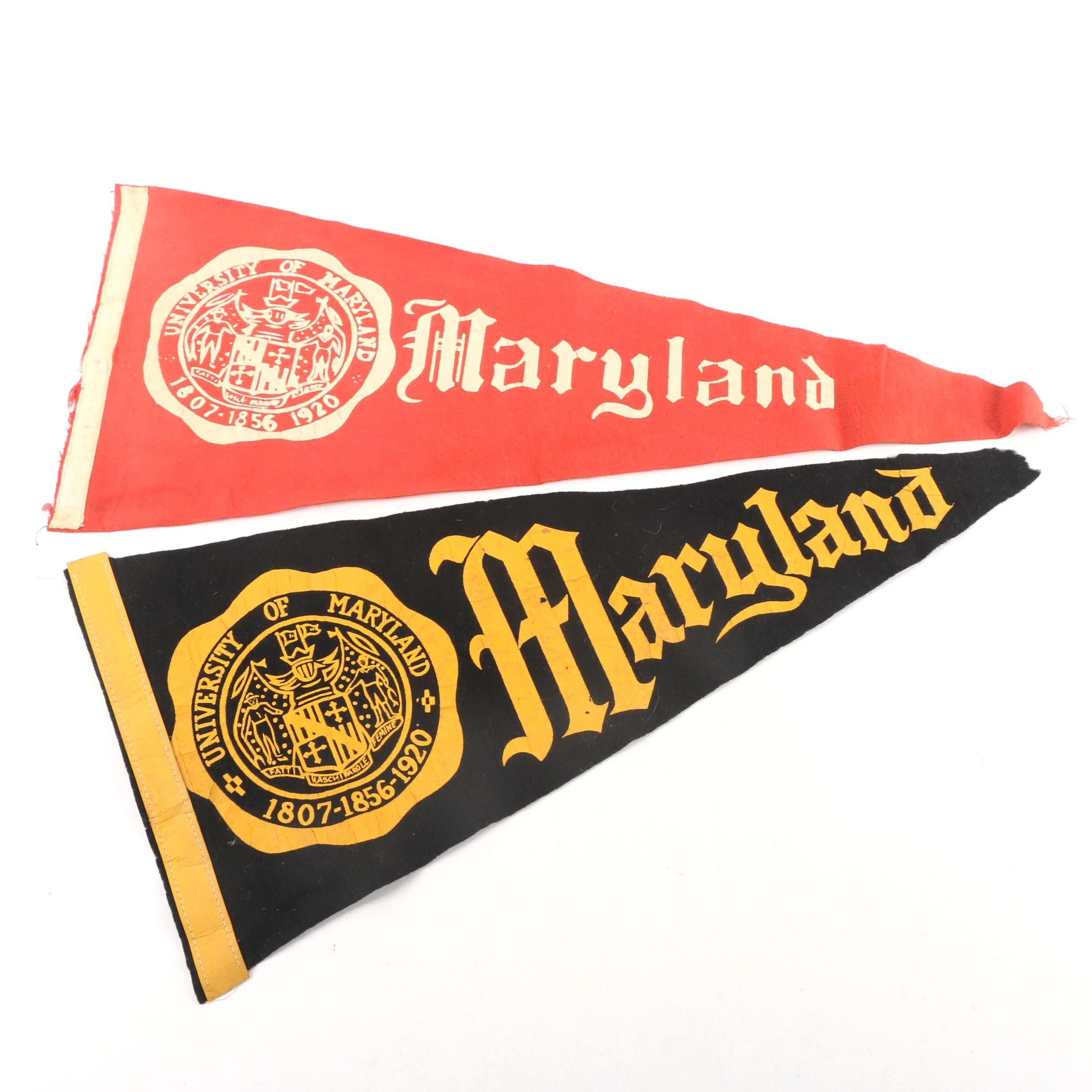 Vintage University of Maryland Felt Pennants