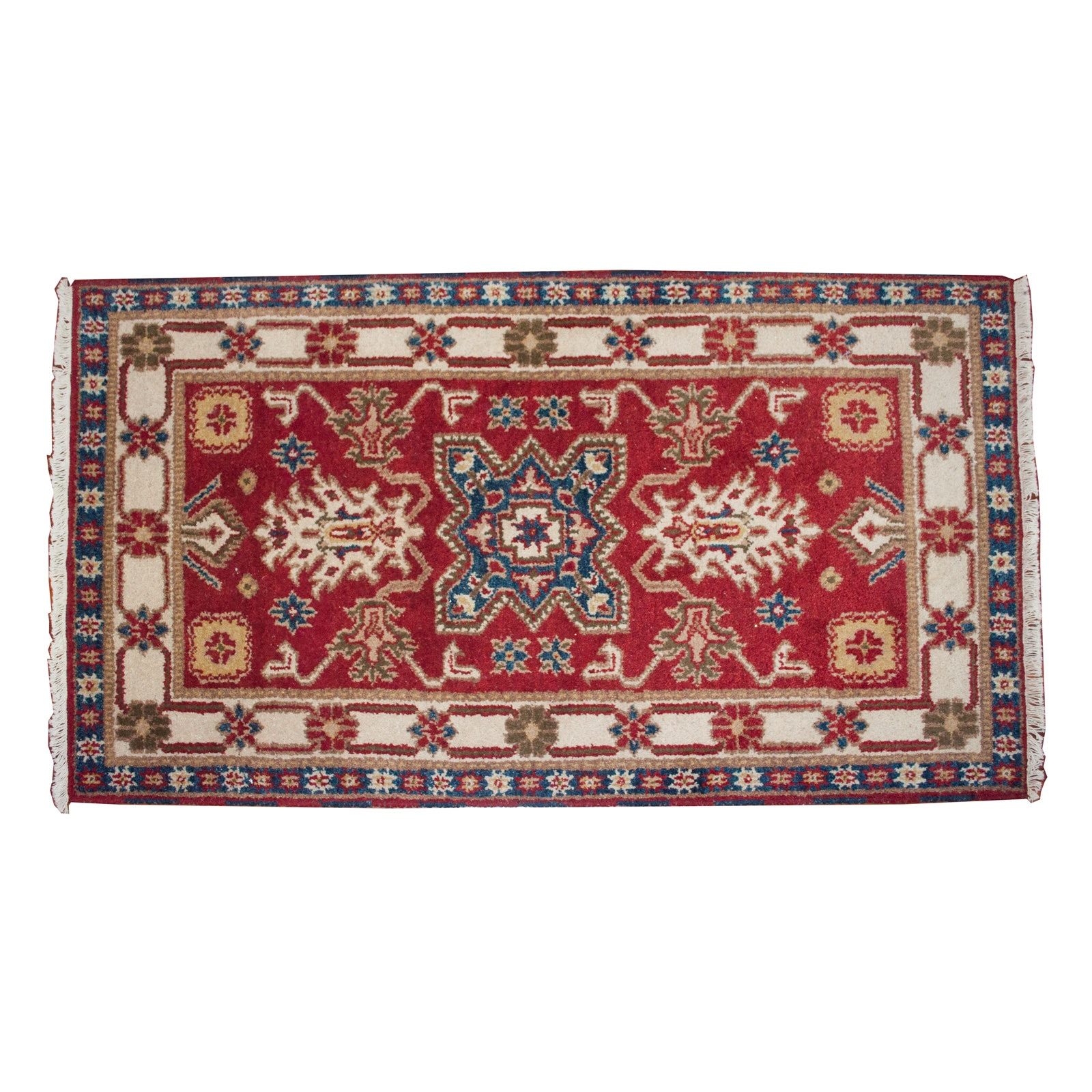 Hand-Knotted Indo-Caucasian Karabagh Style Wool Accent Rug