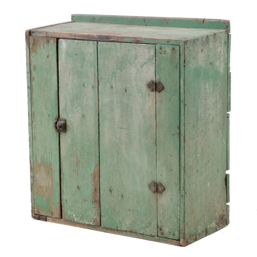 Antique Primitive Green Painted Cupboard ... - Antique Primitive Green Painted Cupboard : EBTH
