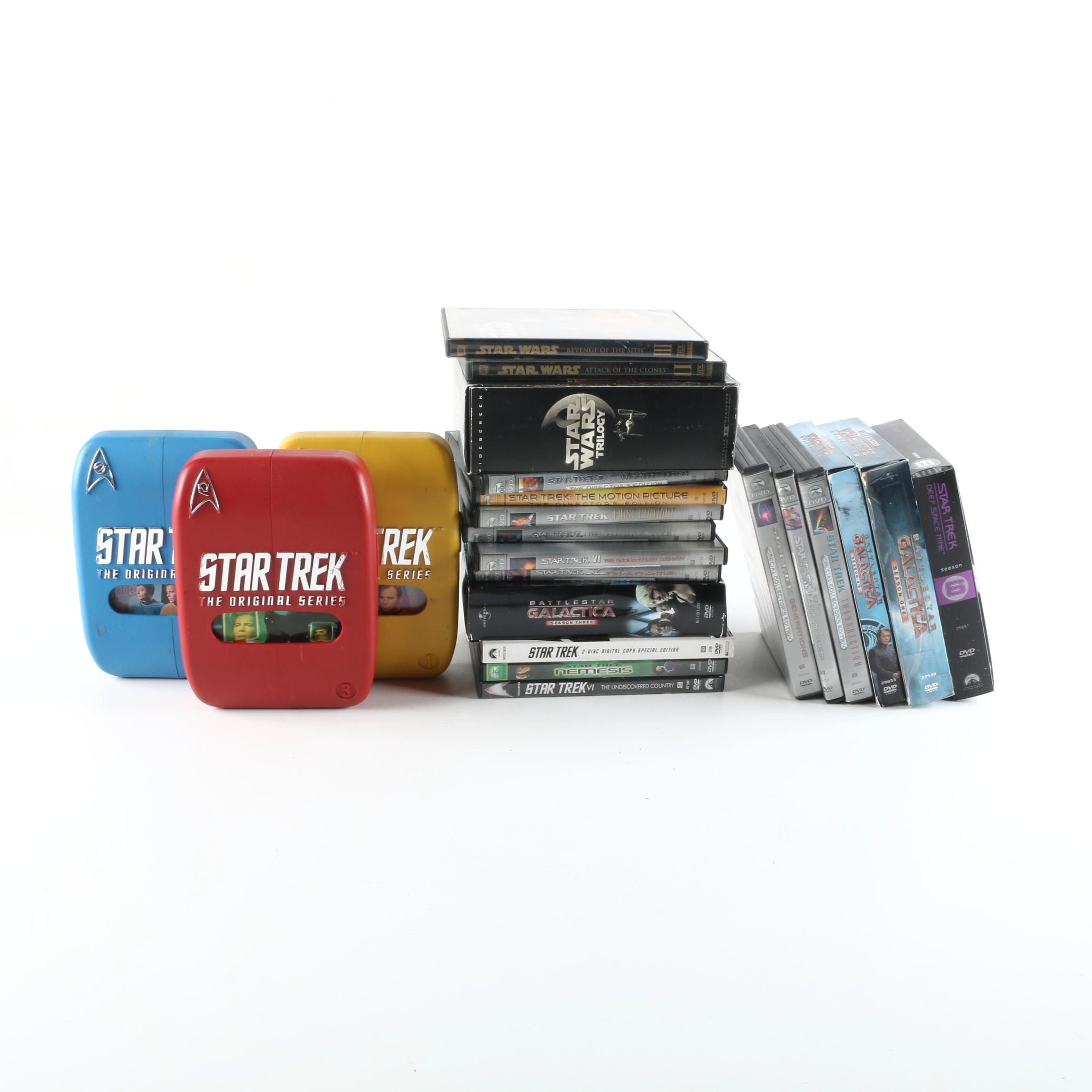 """Star Trek"", ""Battlestar Galactica"", and ""Star Wars"" DVDs"