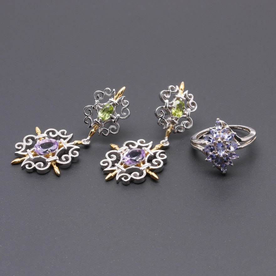 47444b0a0 Sterling Silver Earrings and Ring Including Tanzanite and Amethyst : EBTH