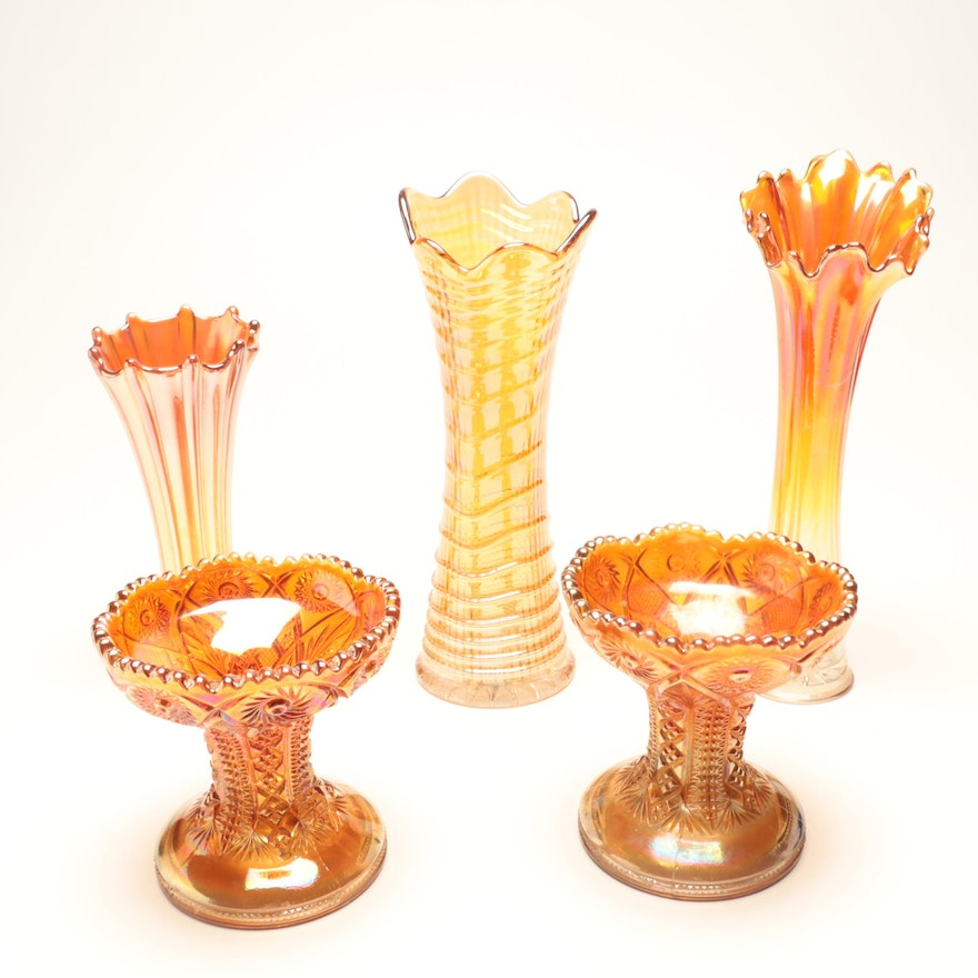 Carnival Glass Vases And Compotes In Marigold Ebth