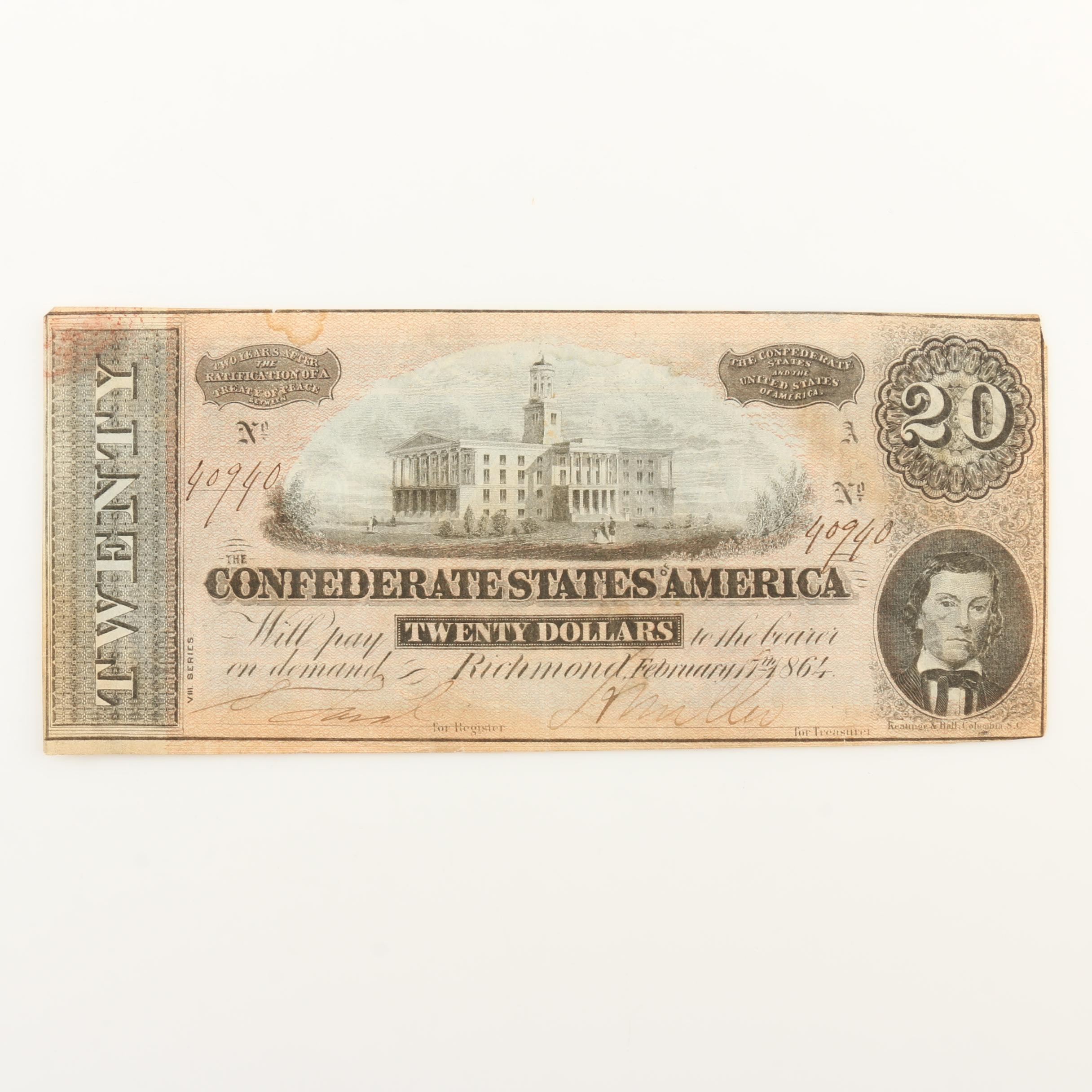 $20 Confederate States of America Banknote from 1864