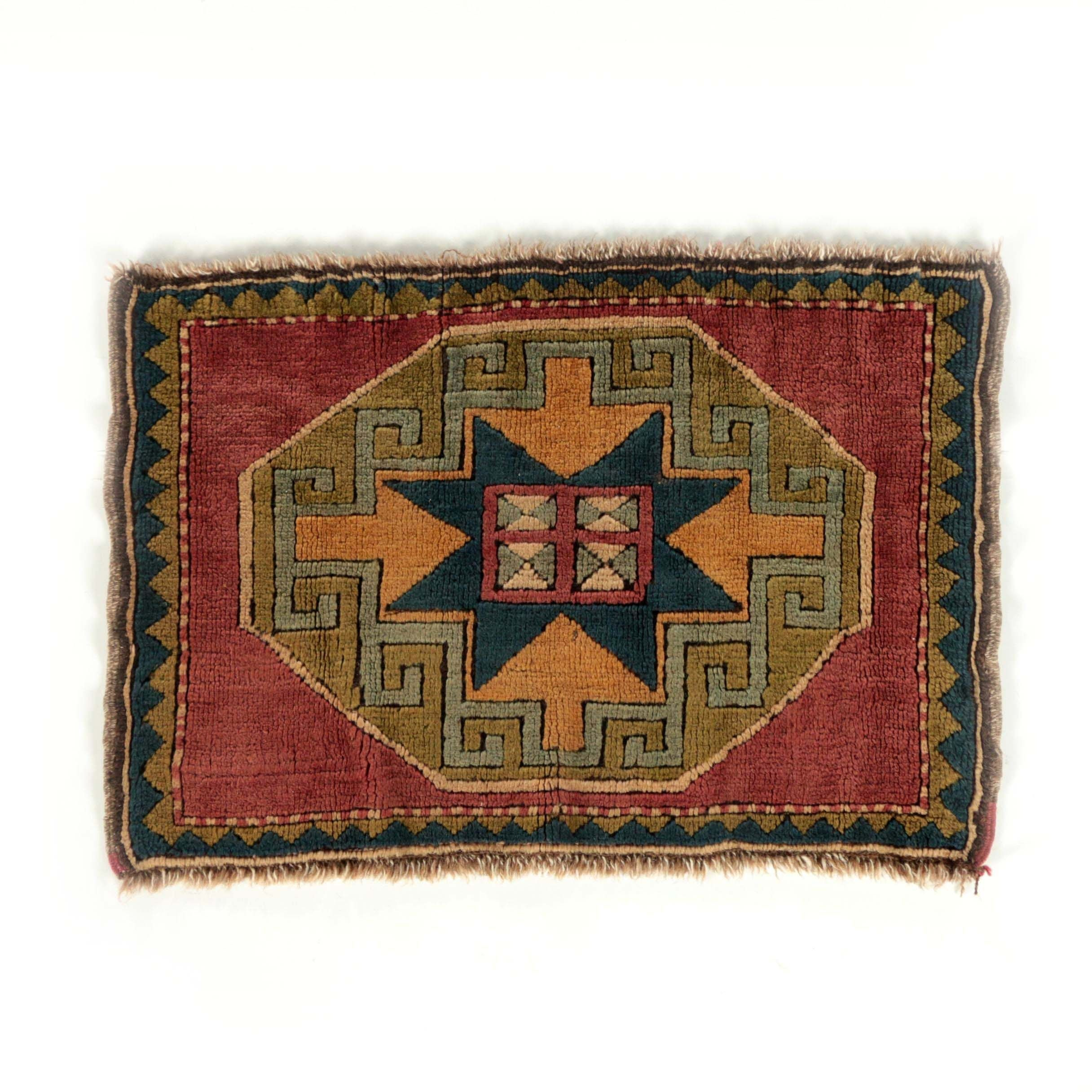 Hand-Knotted Caucasian Kazak Carved Wool Mat