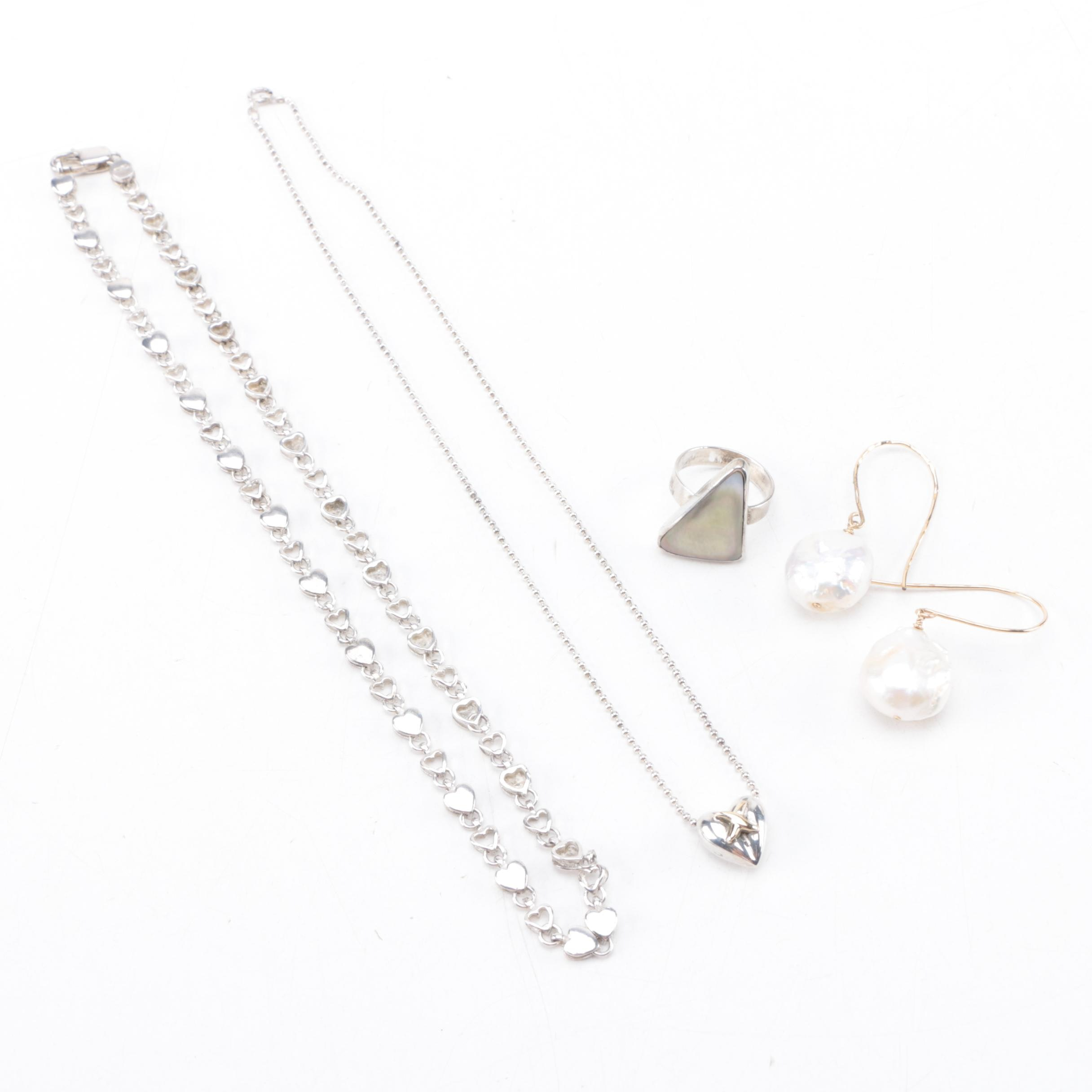 Jewelry Selection Including 950, Sterling Silver and Cultured Pearl
