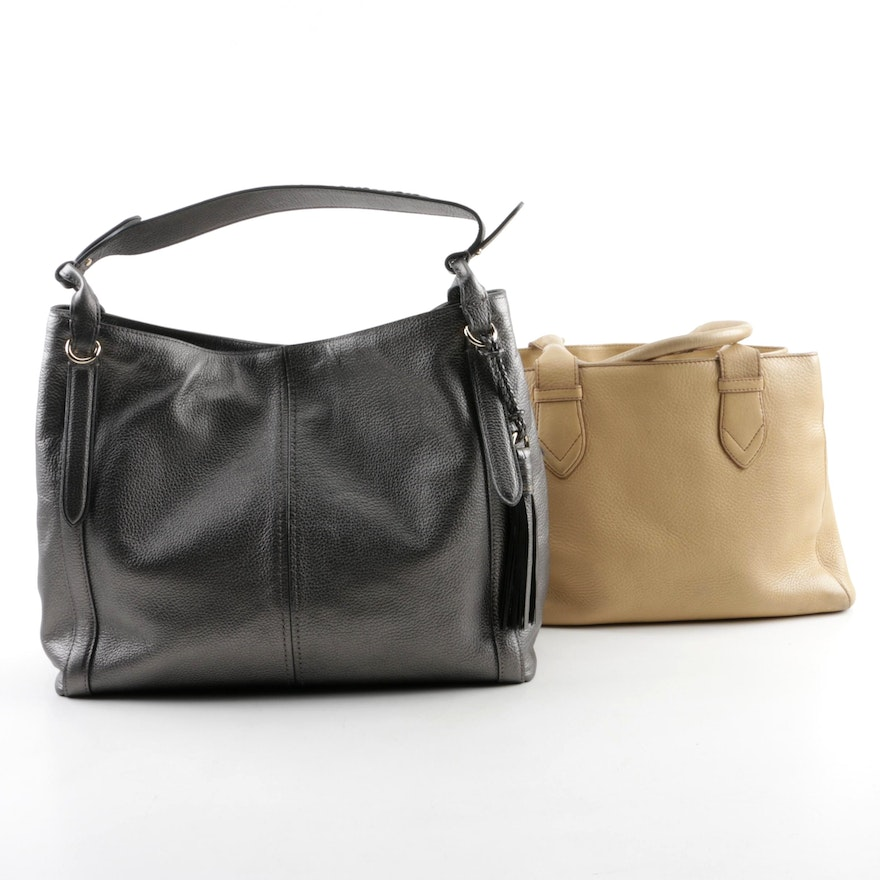 de84f77a9a9 Cole Haan Charcoal and Camel-Colored Leather Satchels   EBTH