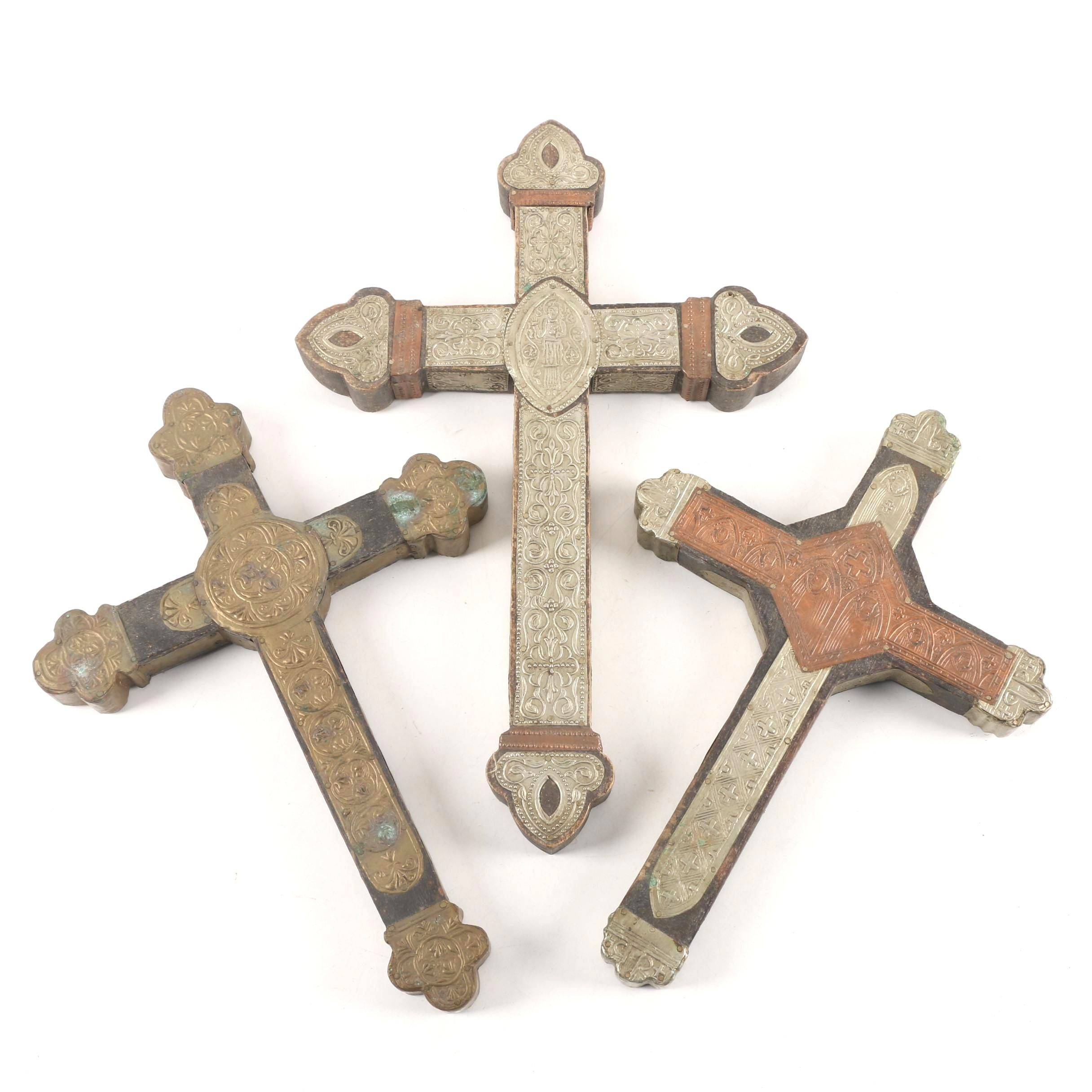 Mexican Style Folk Art Crosses with Embossed Sheet Metal Embellishments