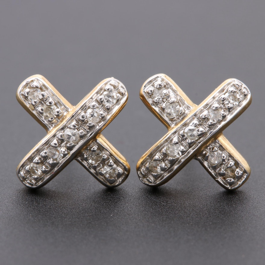 14k Yellow Gold Diamond Criss Cross Earrings