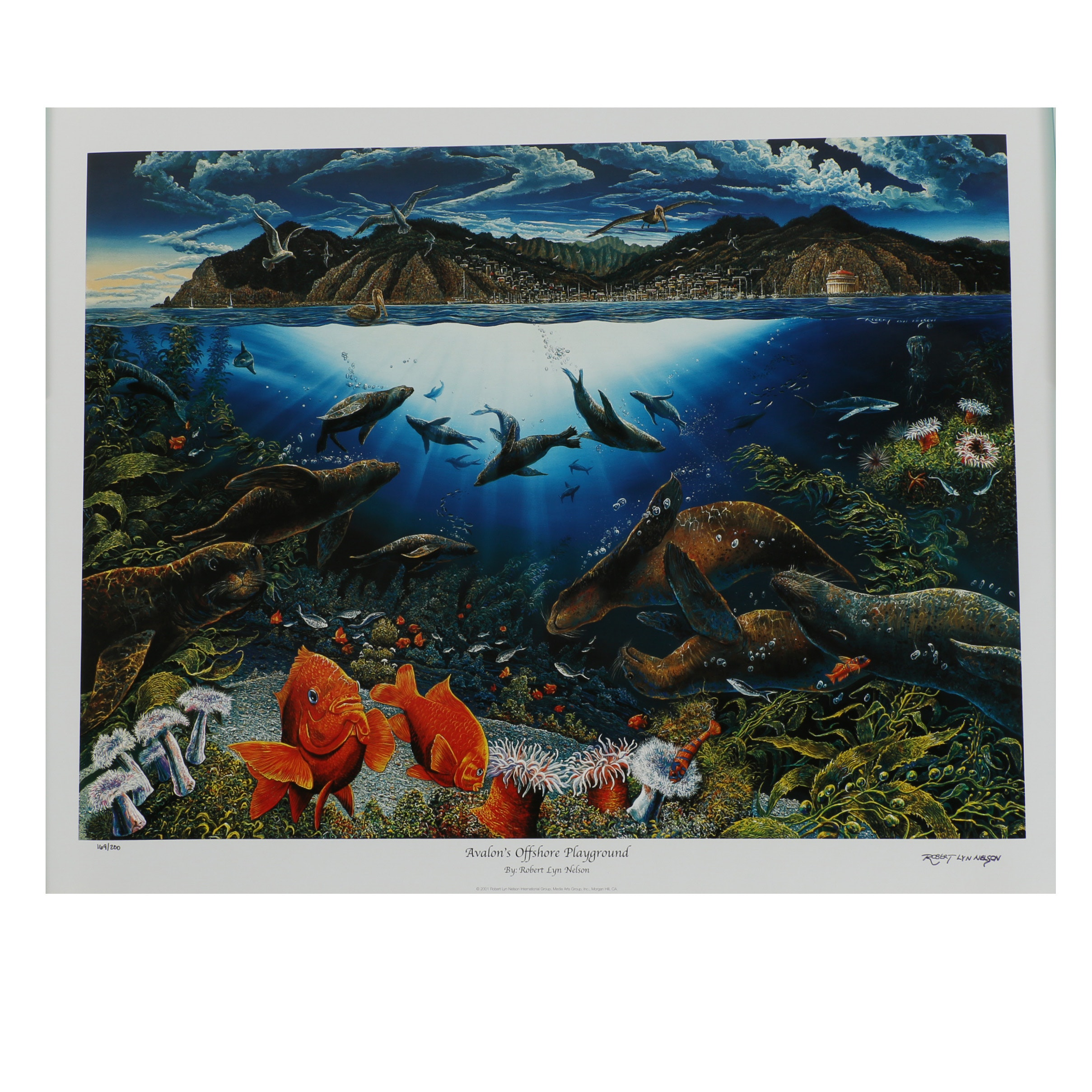 "Robert Lyn Nelson Offset Lithograph ""Avalon's Offshore Playground"""