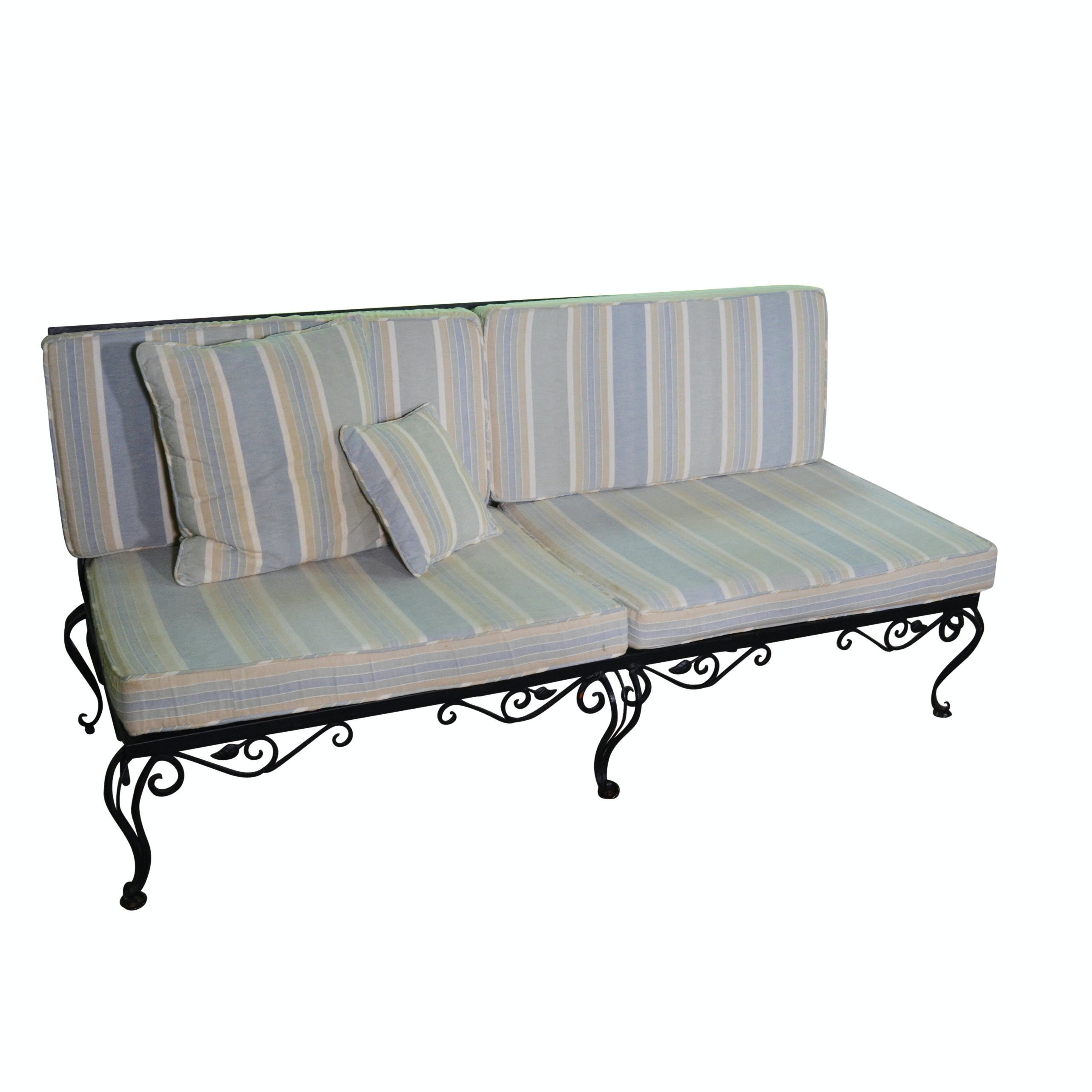 Vintage Wrought Iron Sofa With Striped Cushions ...