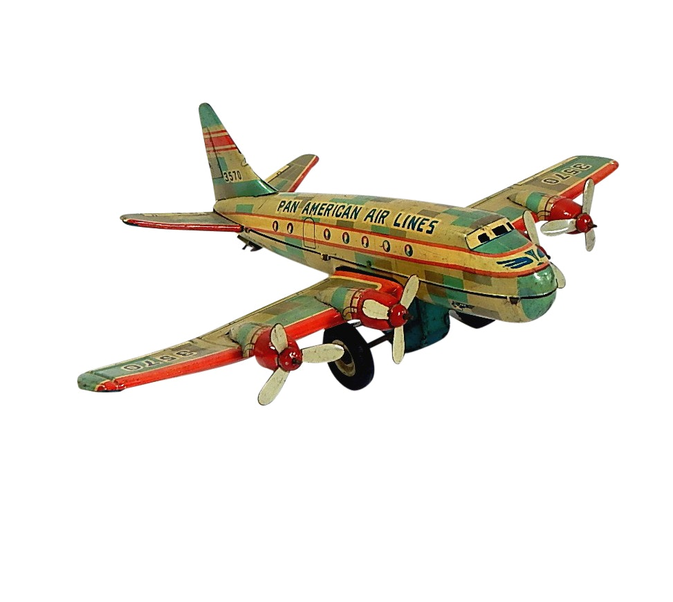 1950s Pan American Air Lines Japan Tin Friction Toy Airplane