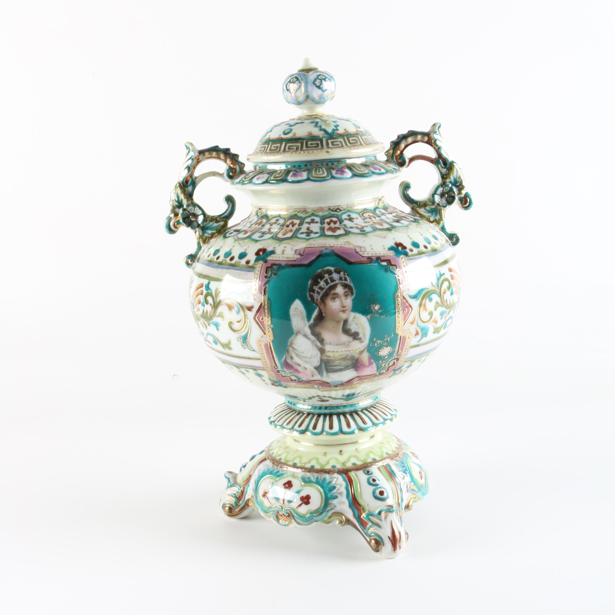 20th Century Porcelain Lidded Urn Depicting The Empress Josephine