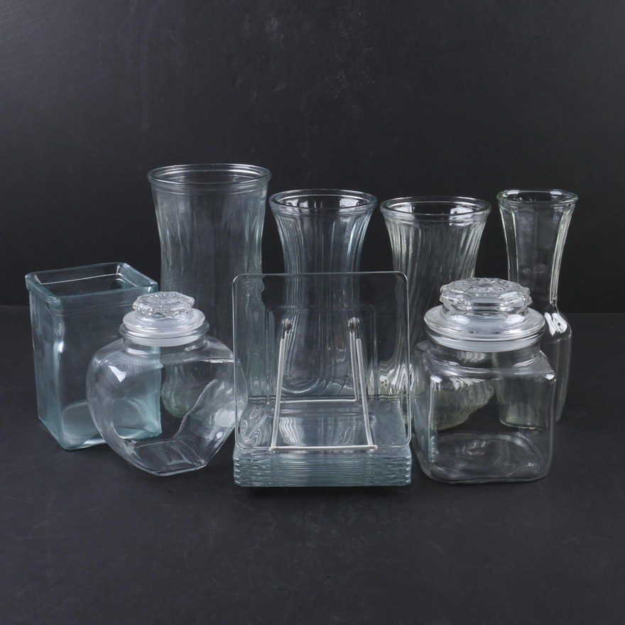 Clear Glass Vases Jars And Coasters Ebth