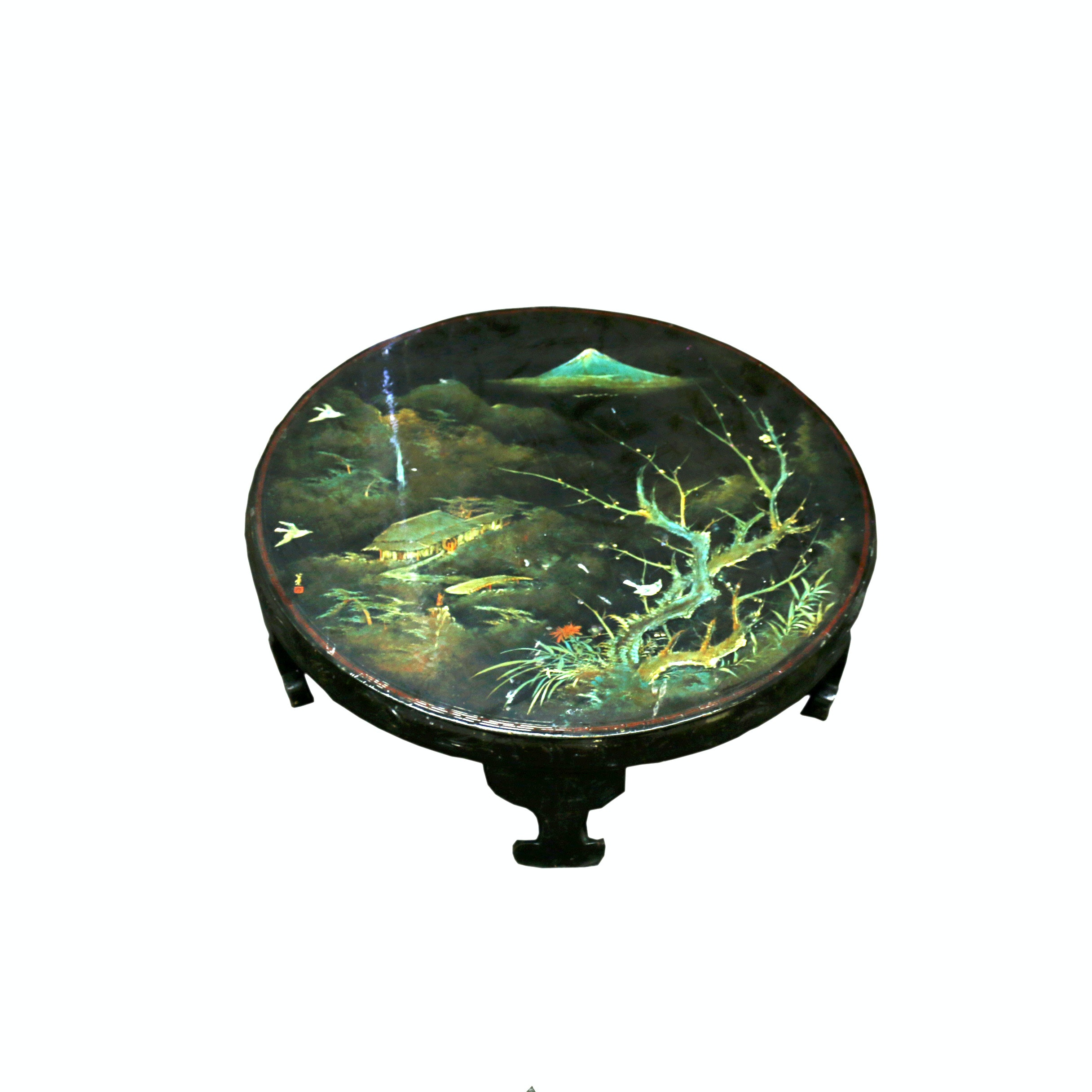 Vintage Asian Inspired Black Lacquered Hand Painted Coffee Table ...
