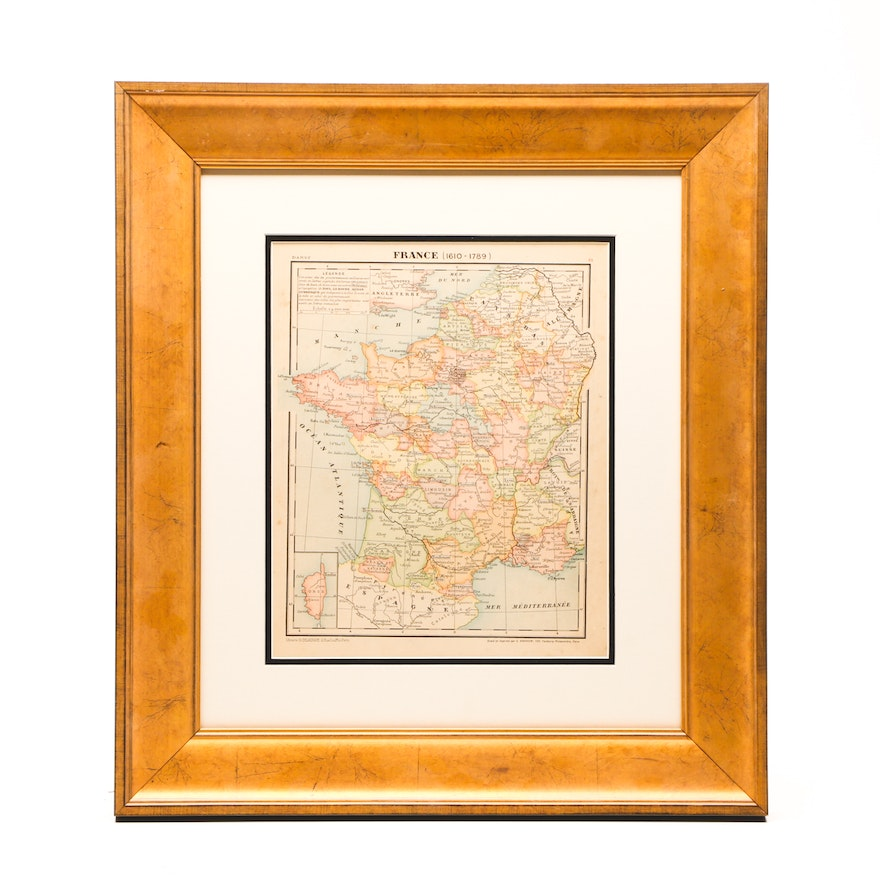 Map Of France In 1789.Original 1881 French Map Engraving France 1610 1789 Ebth