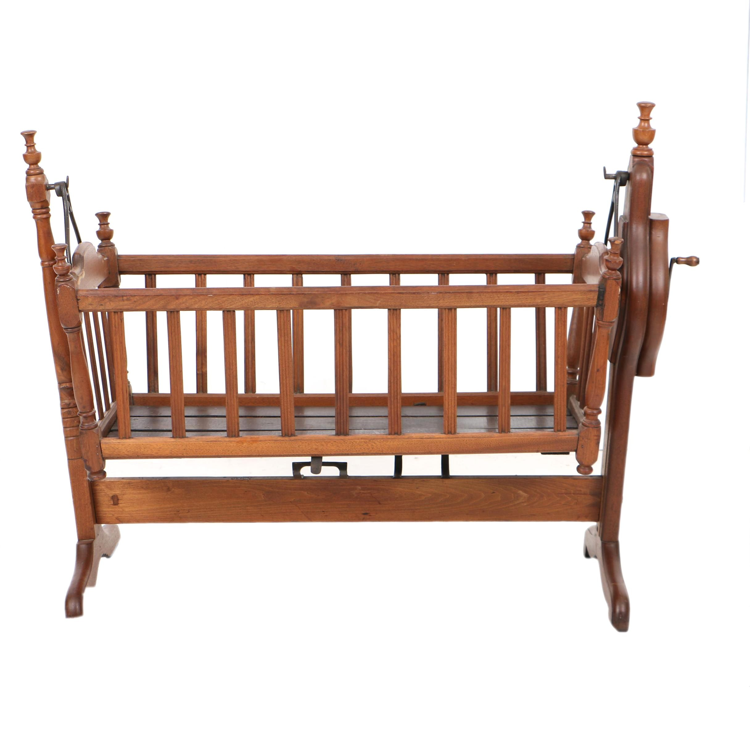 Antique Victorian Mechanized Rocking Cradle in Walnut, Late 19th Century