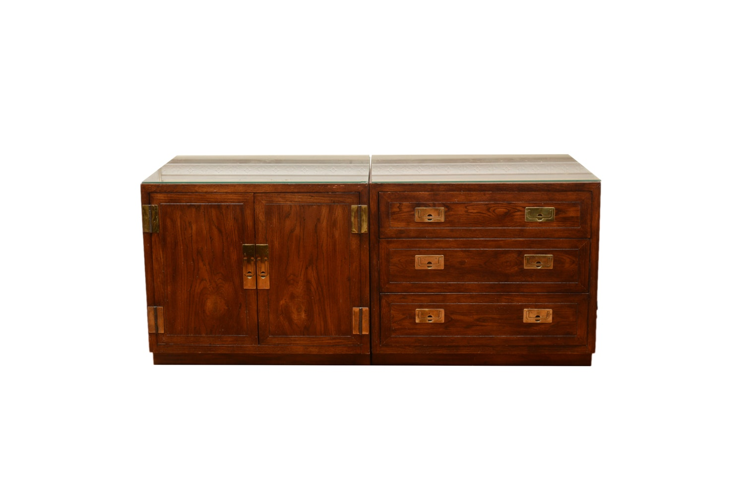 Campaign Style Small Cabinet and Chest of Drawers by Henredon
