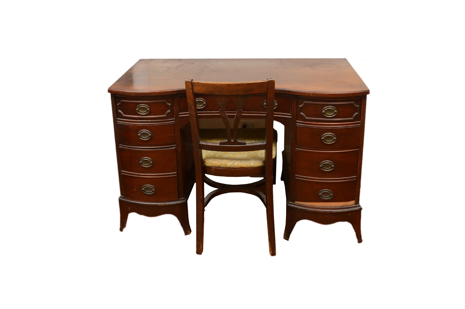 Vintage Hepplewhite Style Mahogany Kneehole Desk with Chair