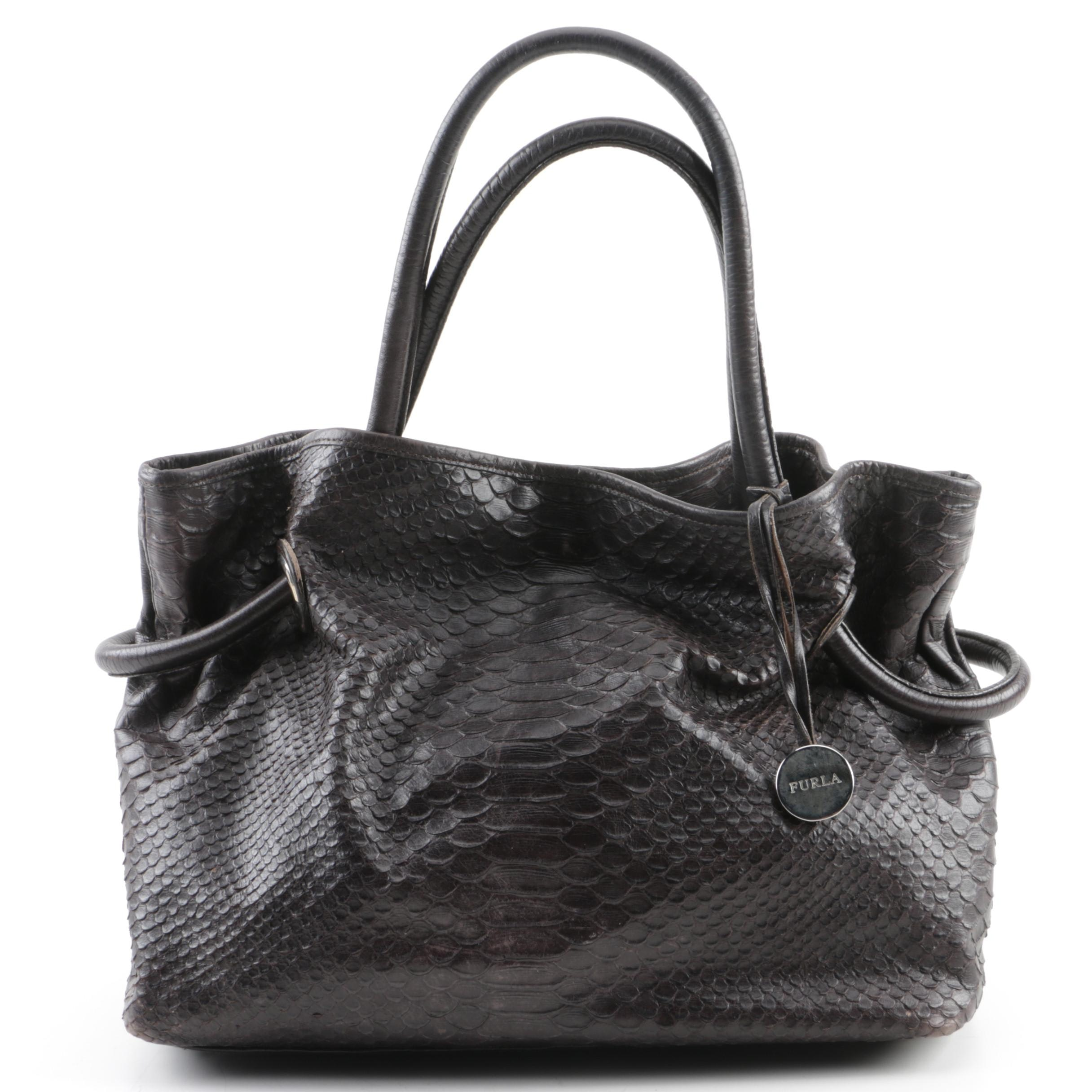 Furla Dark Brown Python Embossed Leather Shoulder Bag