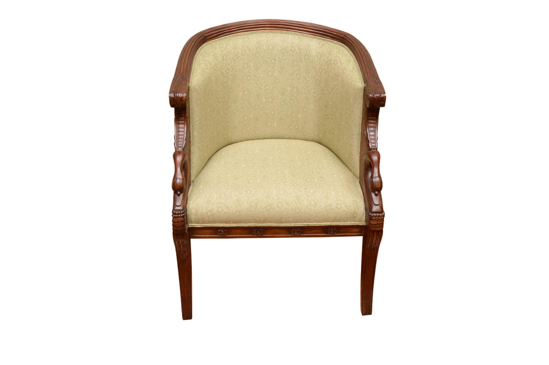 Carved Swan Motif Tub Chair