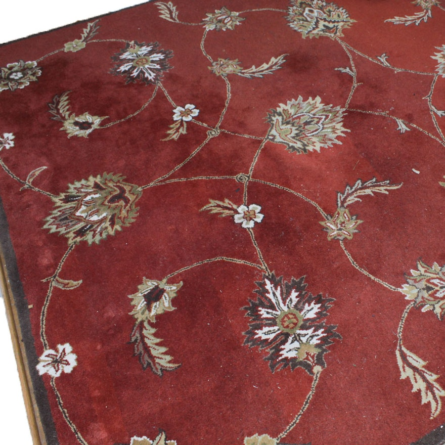 Indian Hand Tufted Wool Pile Area Rug Ebth