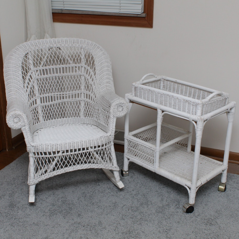 White Wicker Rocking Chair And Cart