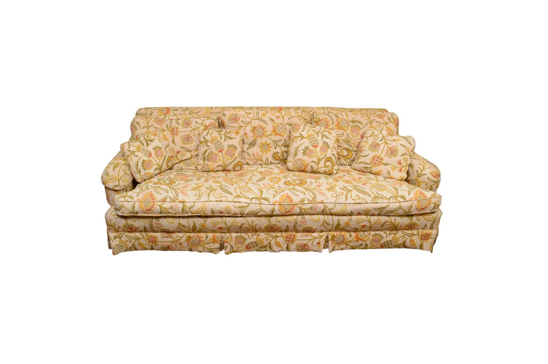 Vintage Floral Upholstered Sofa by Baker Furniture