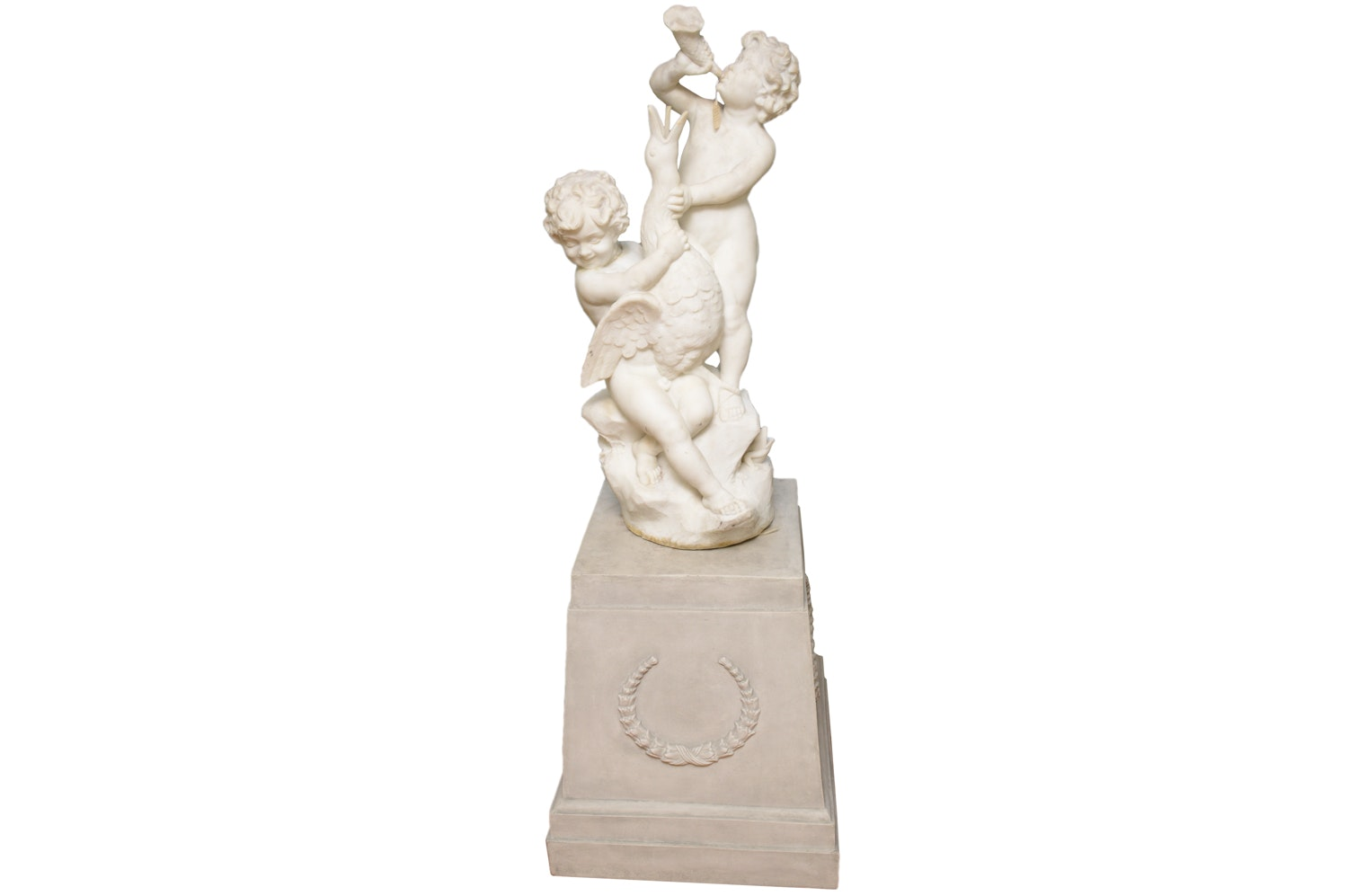 Marble Figural Sculpture with Pedestal Base