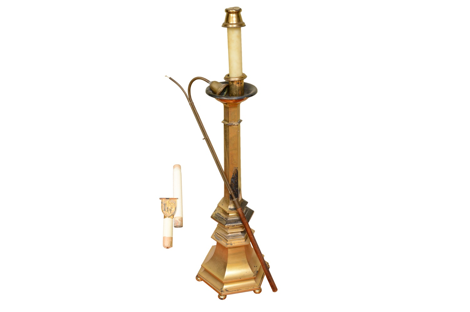 Brass Finished Paschal Candlestick with Snuffer