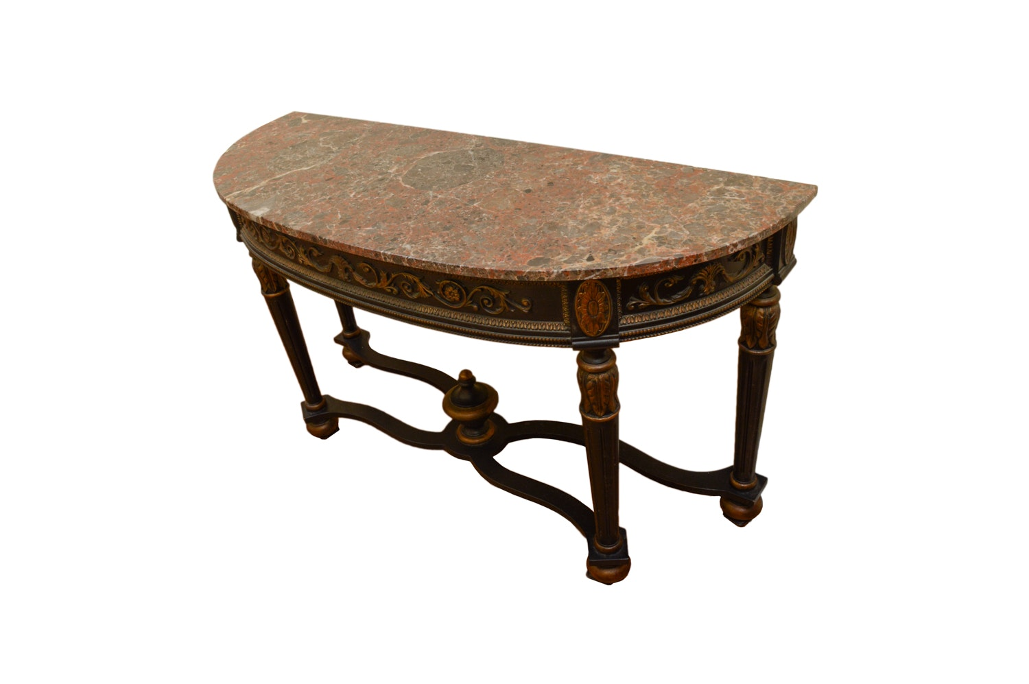 Regency Style Demilune Console Table with Stone Top