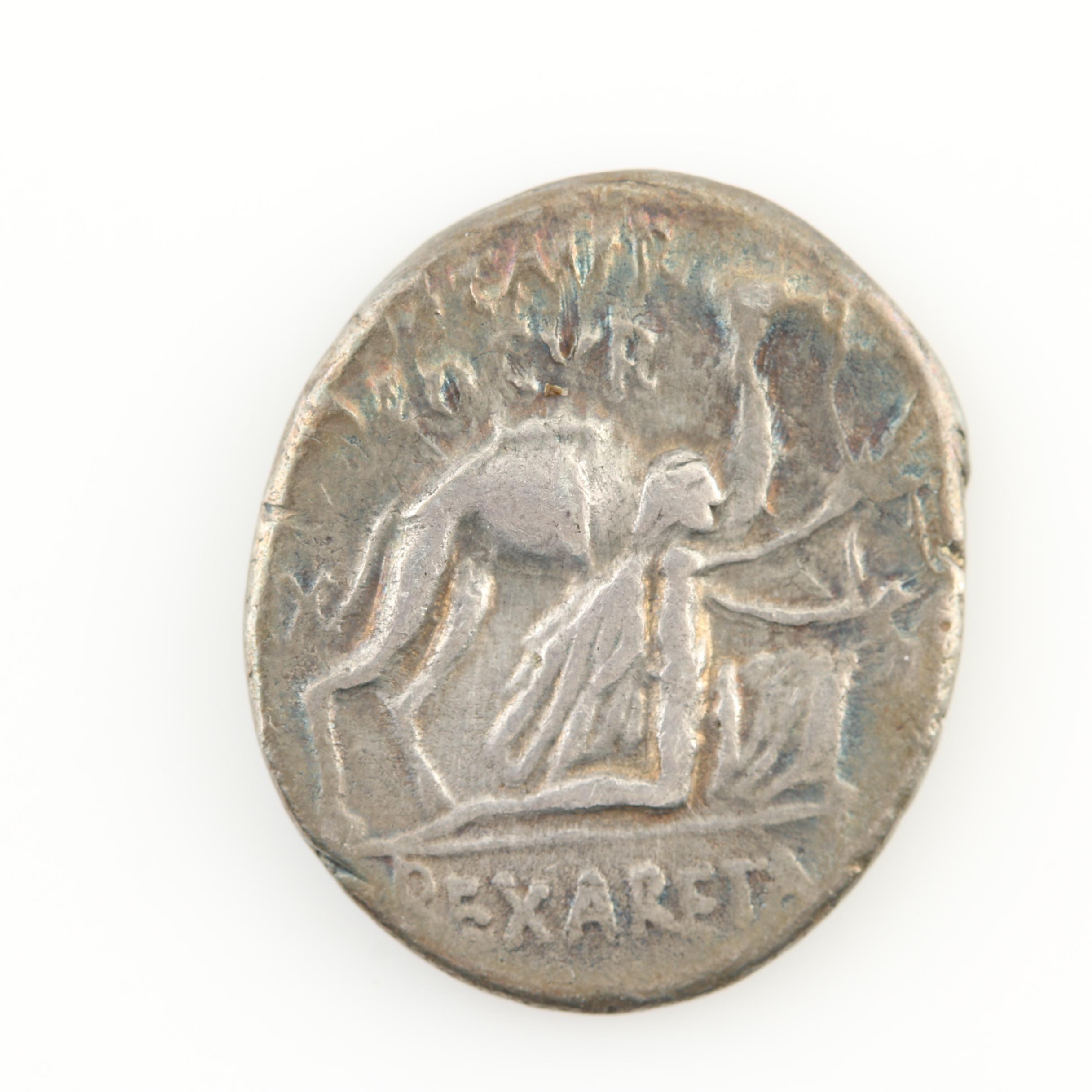 Ancient Roman Republic Commemorative Denarius of M. Aemillus Scaurus, ca. 58 BC