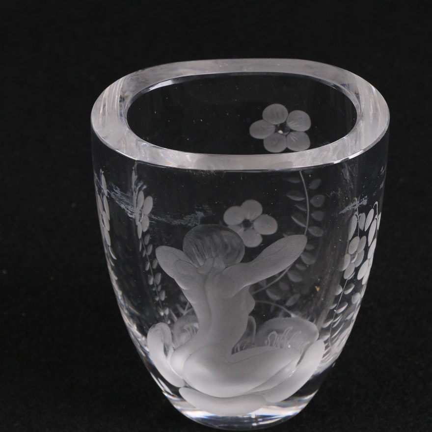 Lars Kjellander Swedish Engraved Glass Vase Circa 1920 Ebth