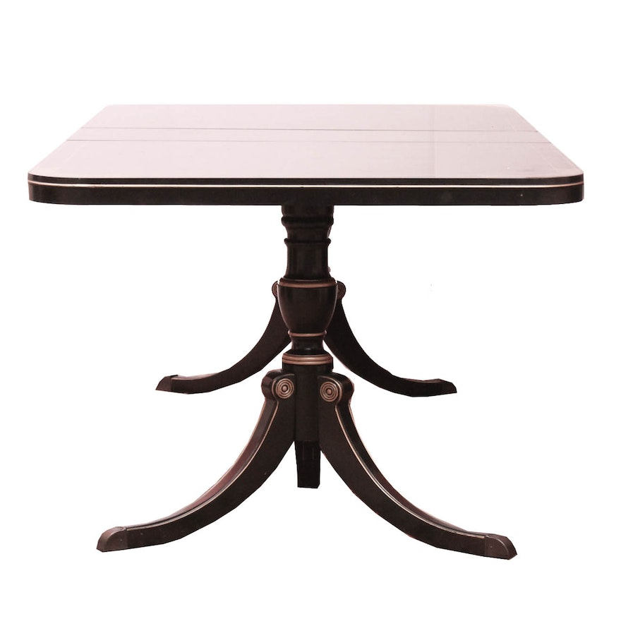 Drexel Black Lacquered Dual Pedestal Dining Table