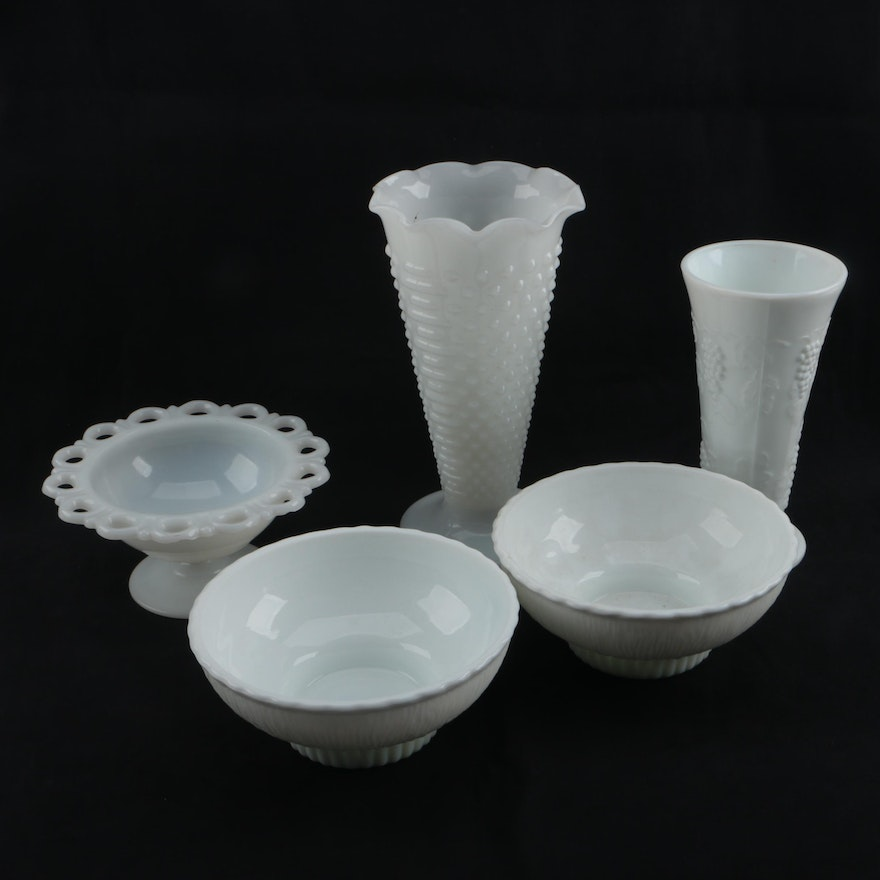Vintage Milk Glass Vases Bowls And Compote Including Anchor