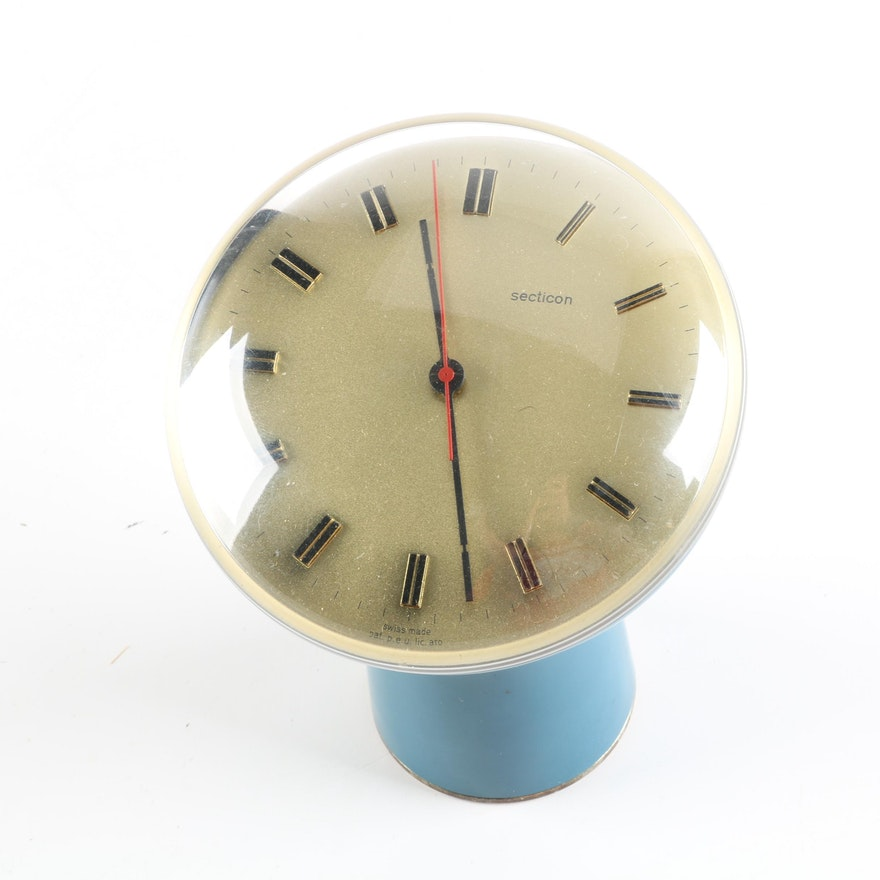 Mid Century Modern Secticon Desk Clock Designed by Angelo Mangiarotti