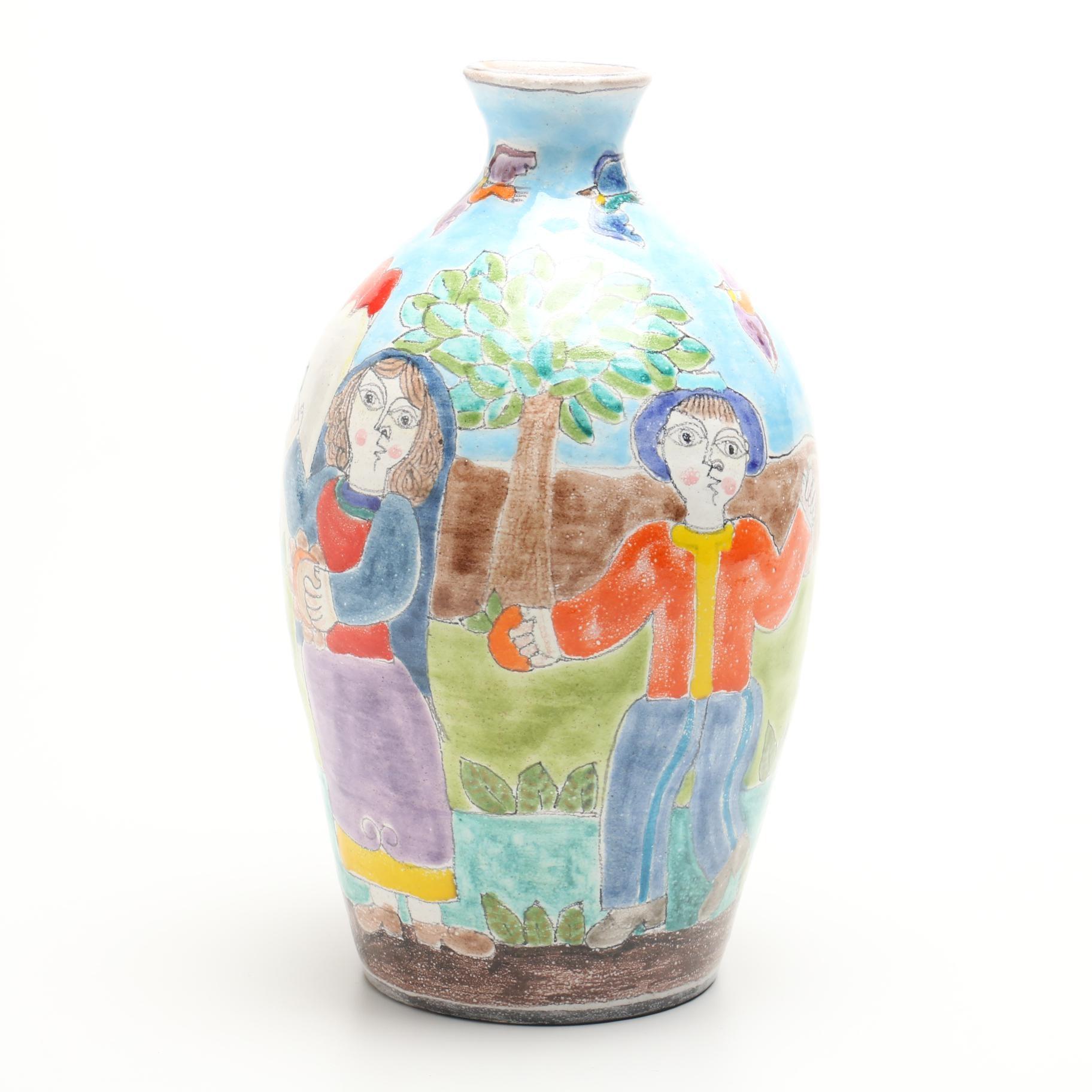 Signed Giovanni De Simone Italian Pottery Vase