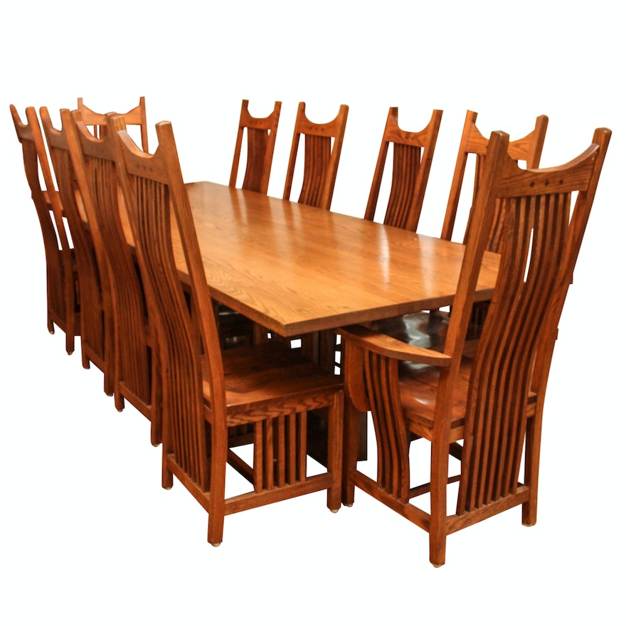 Mission Style Oak Dining Table Set EBTH - Mission style oak dining table and chairs